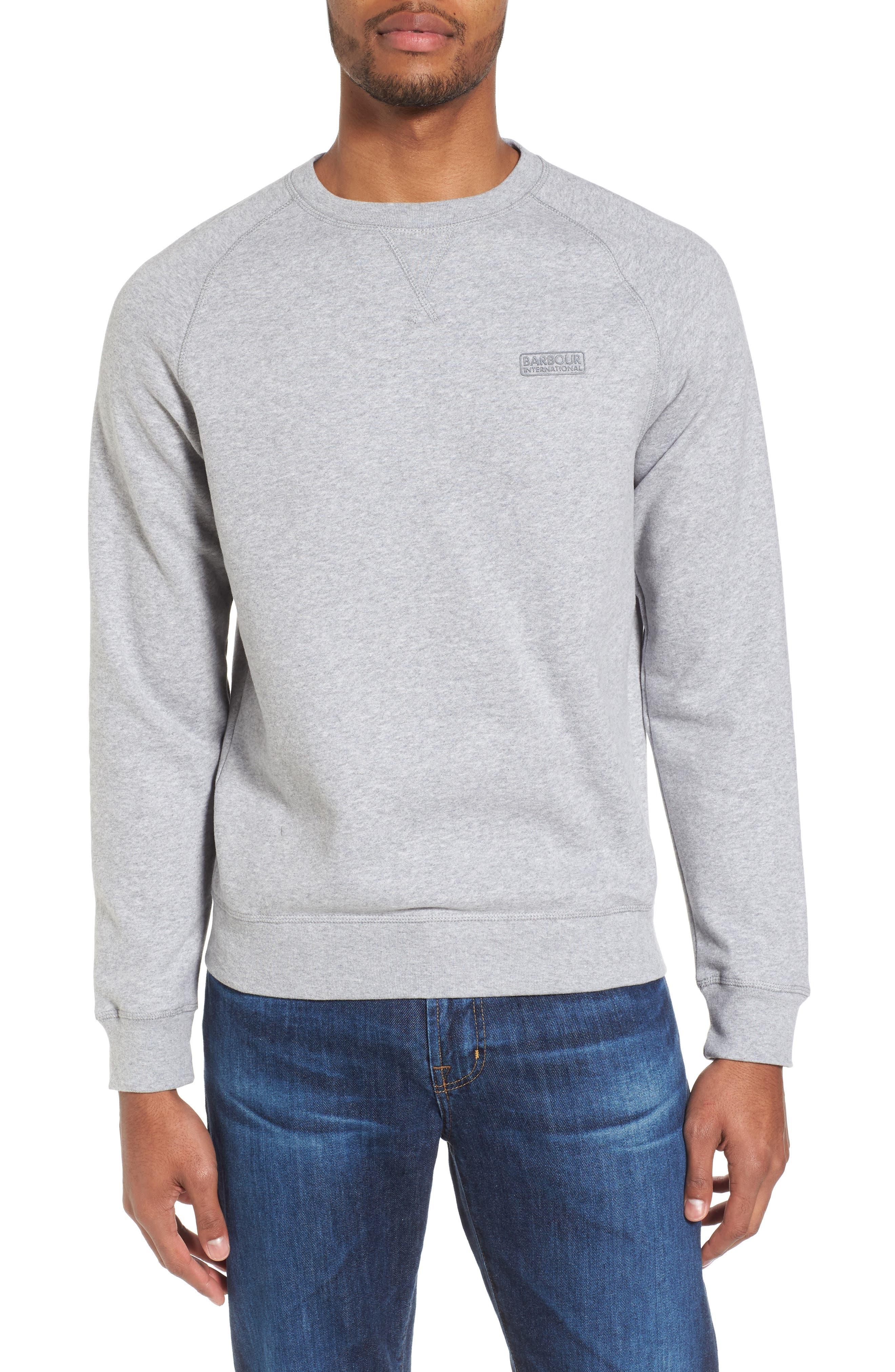 Logo Graphic Essential Sweatshirt,                             Main thumbnail 1, color,                             Grey Marl