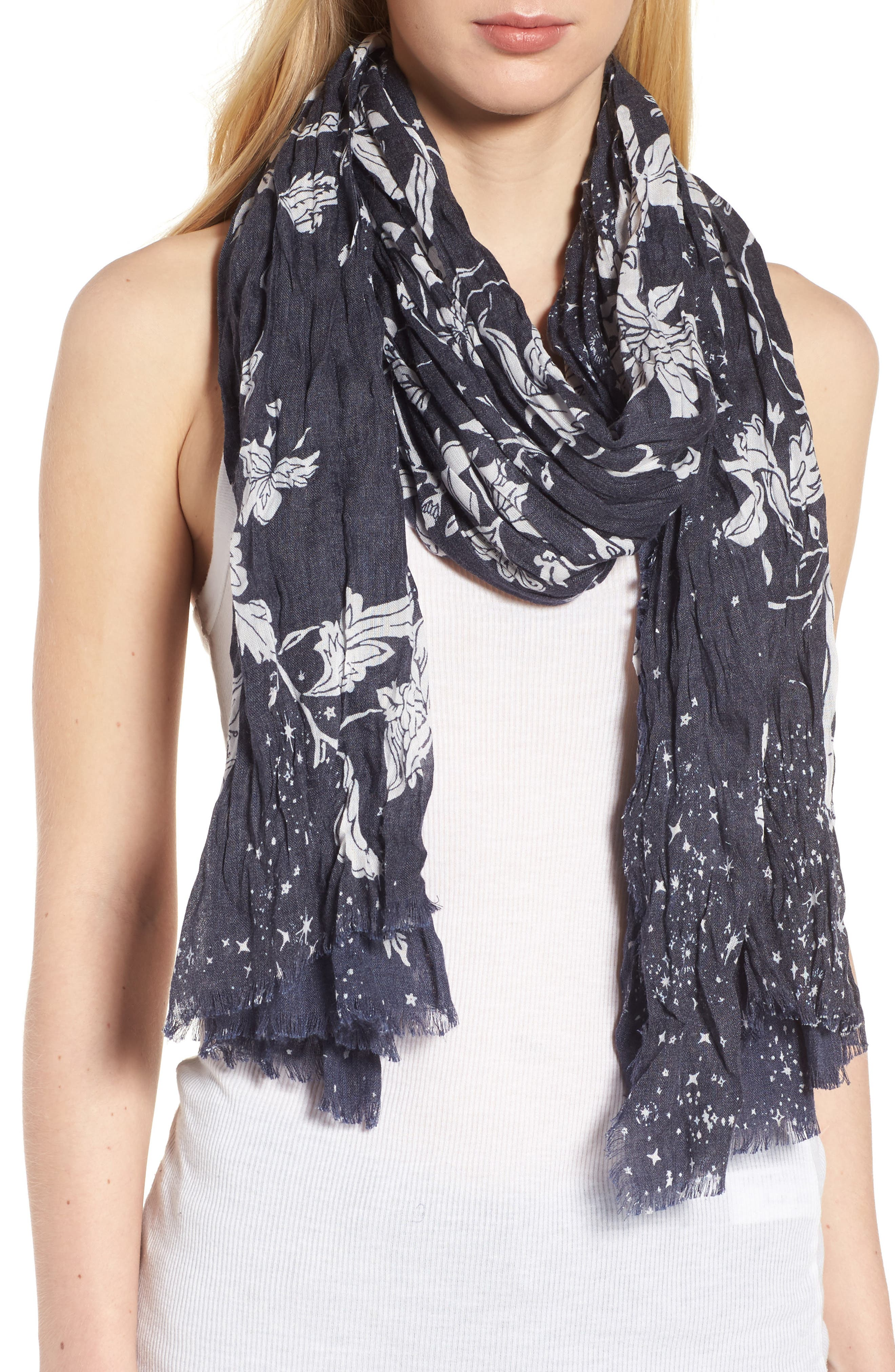 Print Crinkle Wrap,                         Main,                         color, Navy Stardust Forest