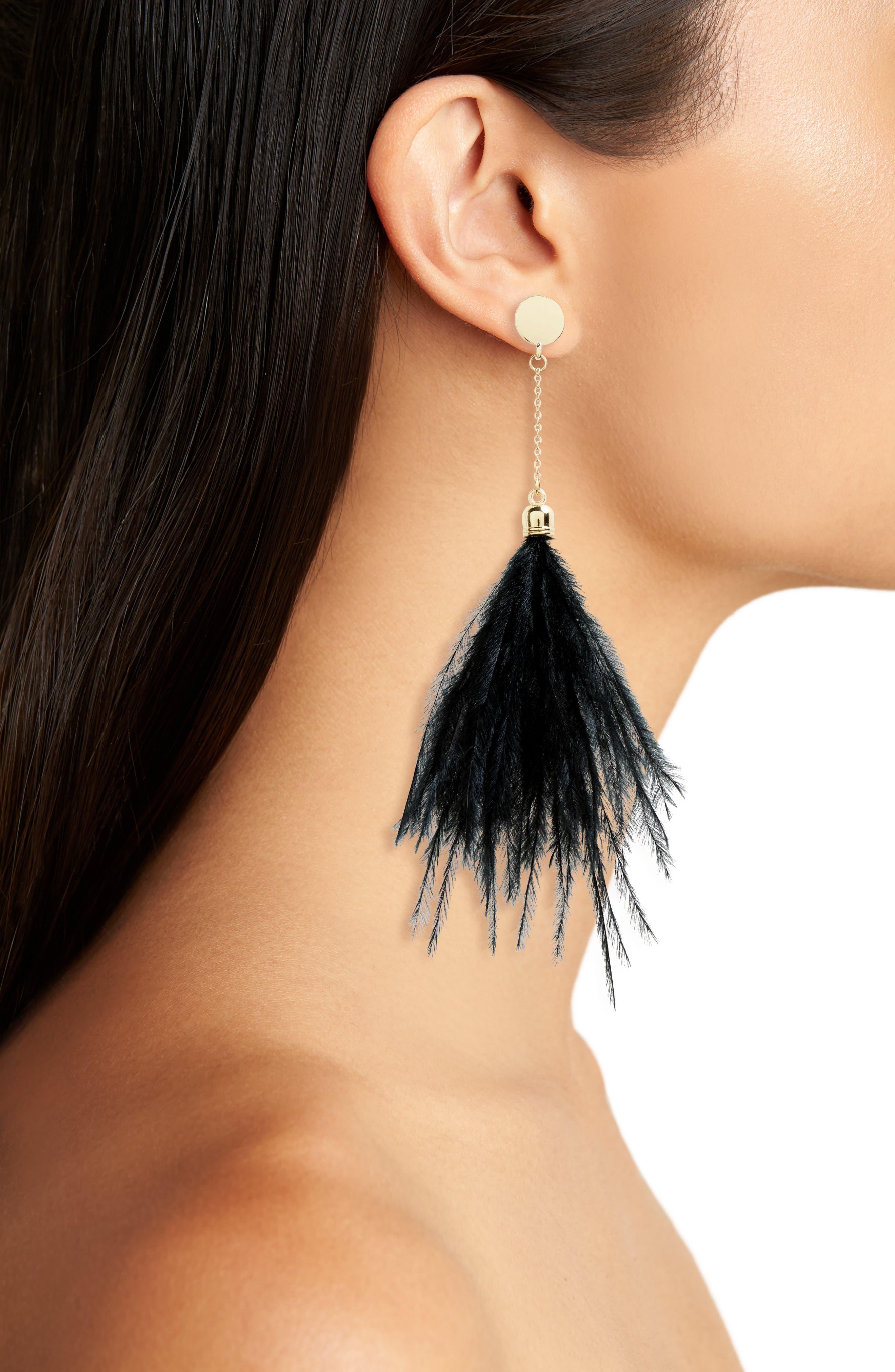 Feather Shoulder Duster Earrings,                             Alternate thumbnail 2, color,                             Black
