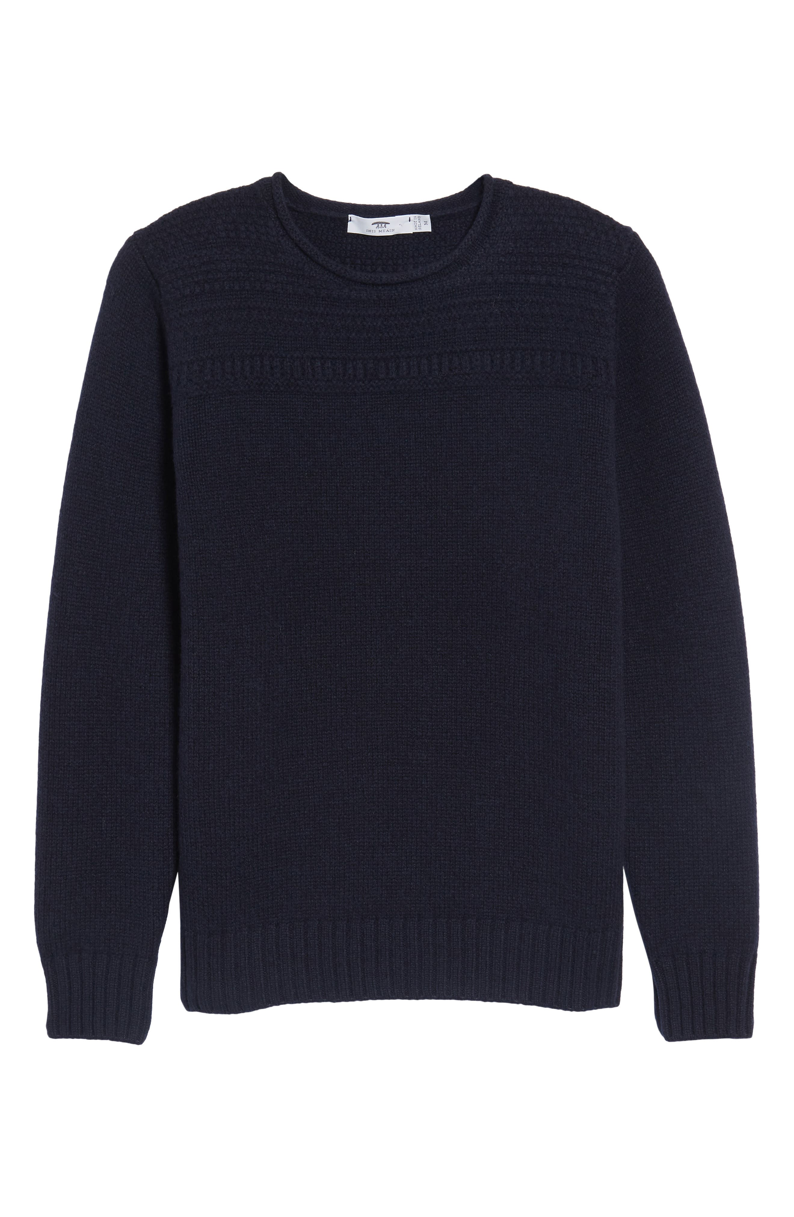Roll Neck Wool Sweater,                             Alternate thumbnail 6, color,                             Navy