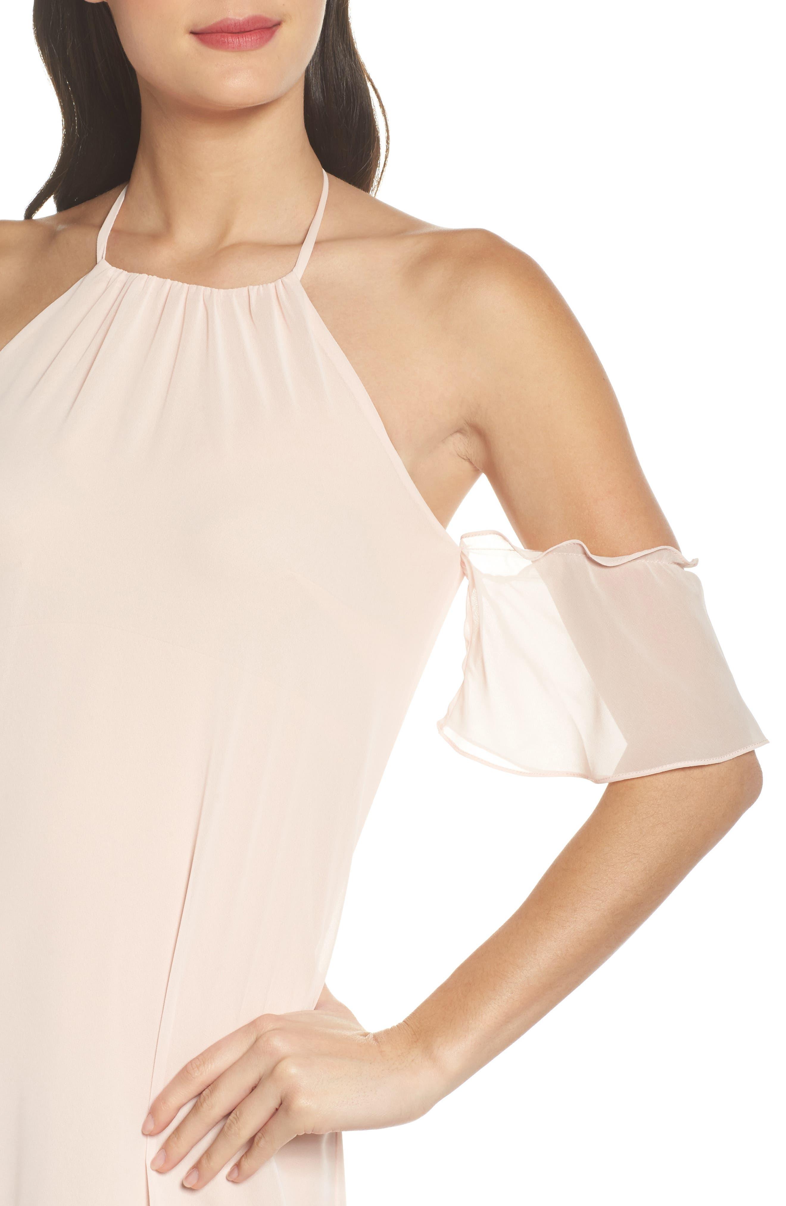 Alternate Image 4  - nouvelle AMSALE Ruffle Sleeve Halter Gown