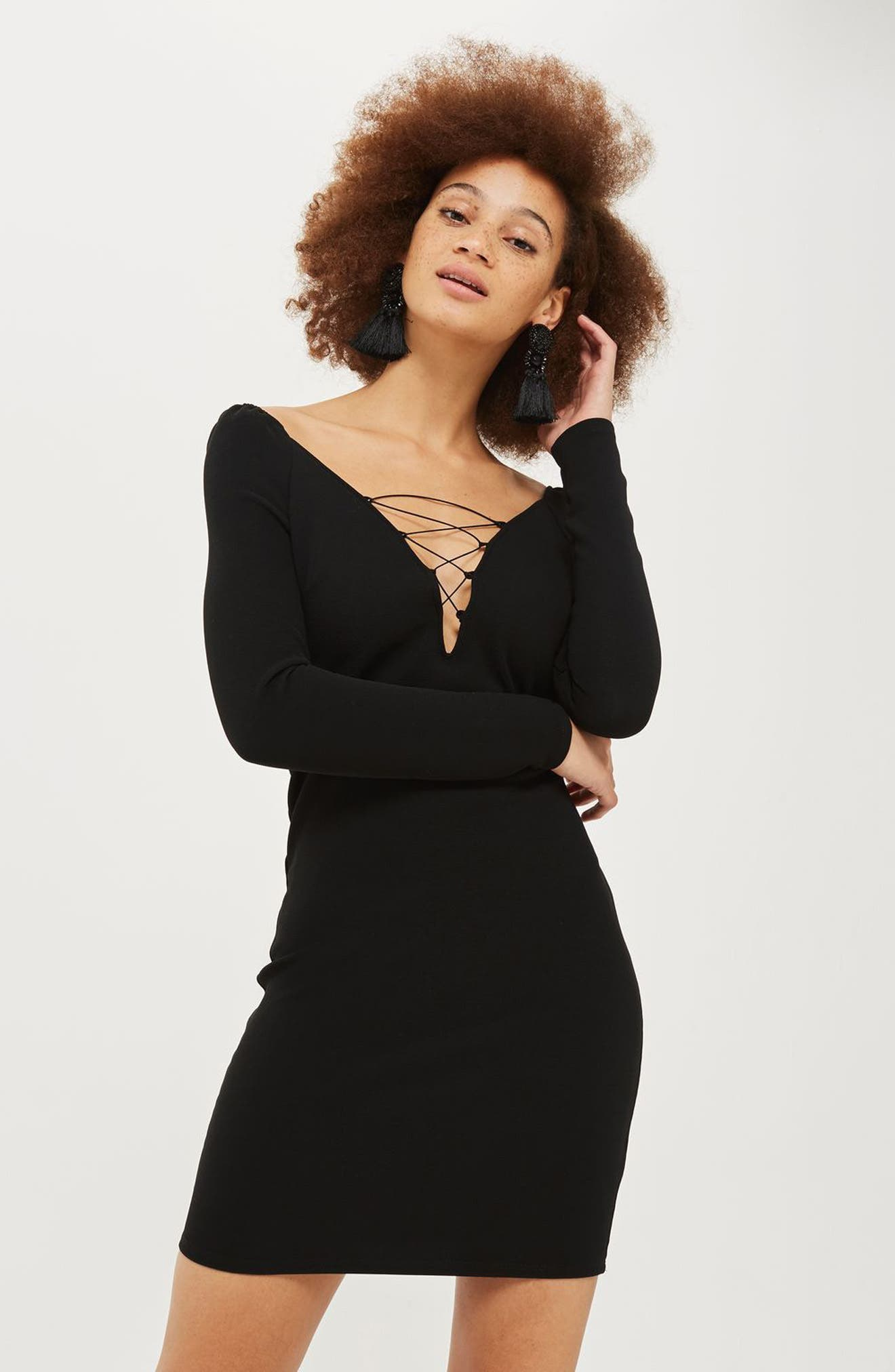 Lace-Up Boatneck Body-Con Dress,                             Alternate thumbnail 2, color,                             Black