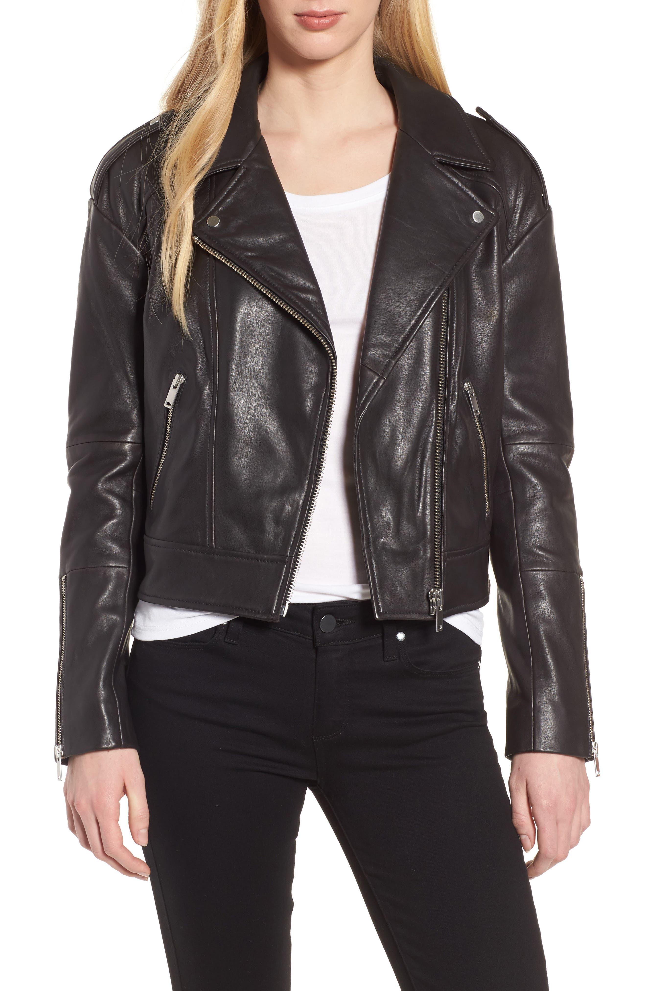 Crop Leather Biker Jacket,                             Main thumbnail 1, color,                             Black