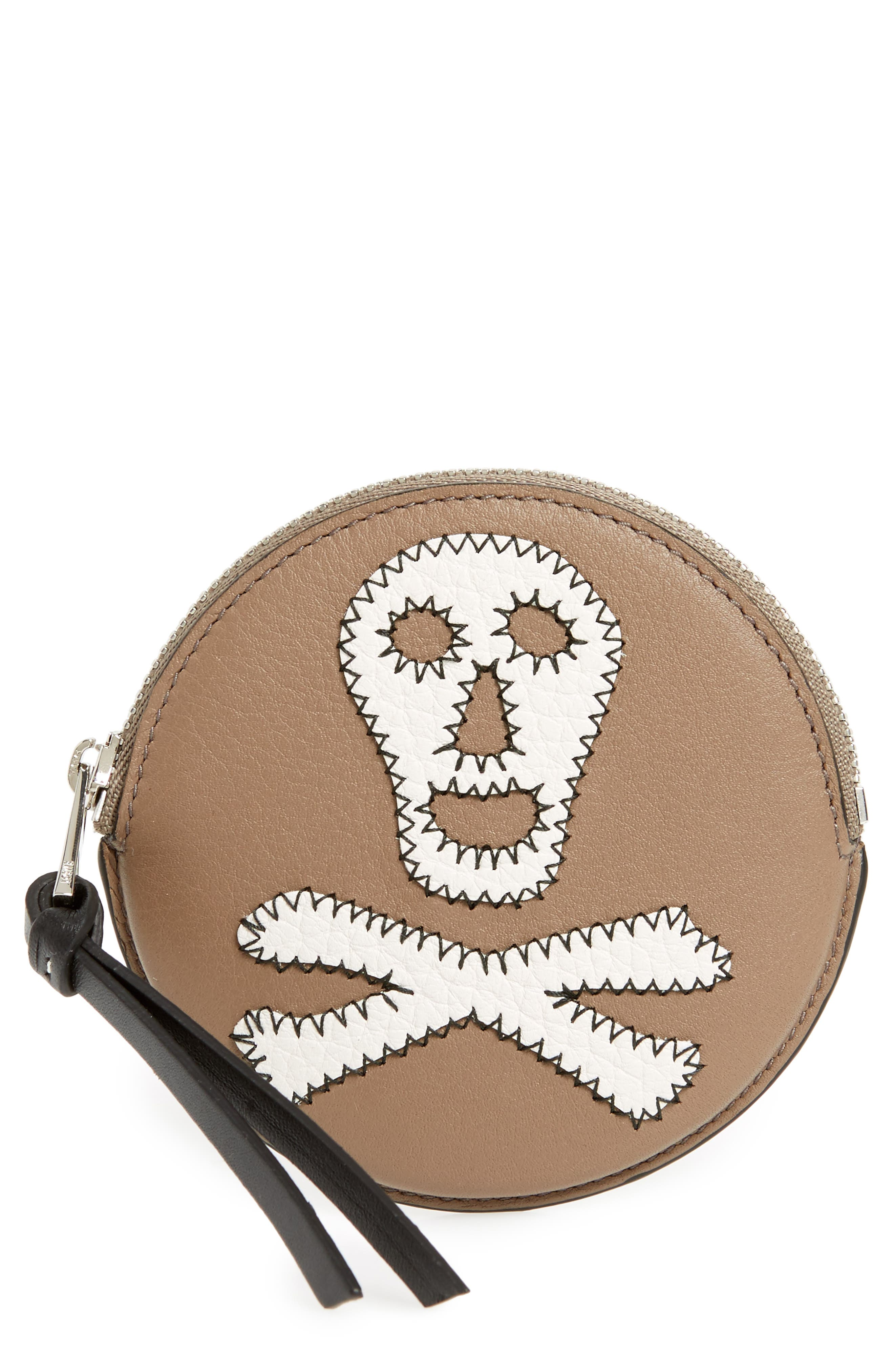 Skull Round Leather Zip Pouch,                         Main,                         color, Dark Taupe/ Tan/ White
