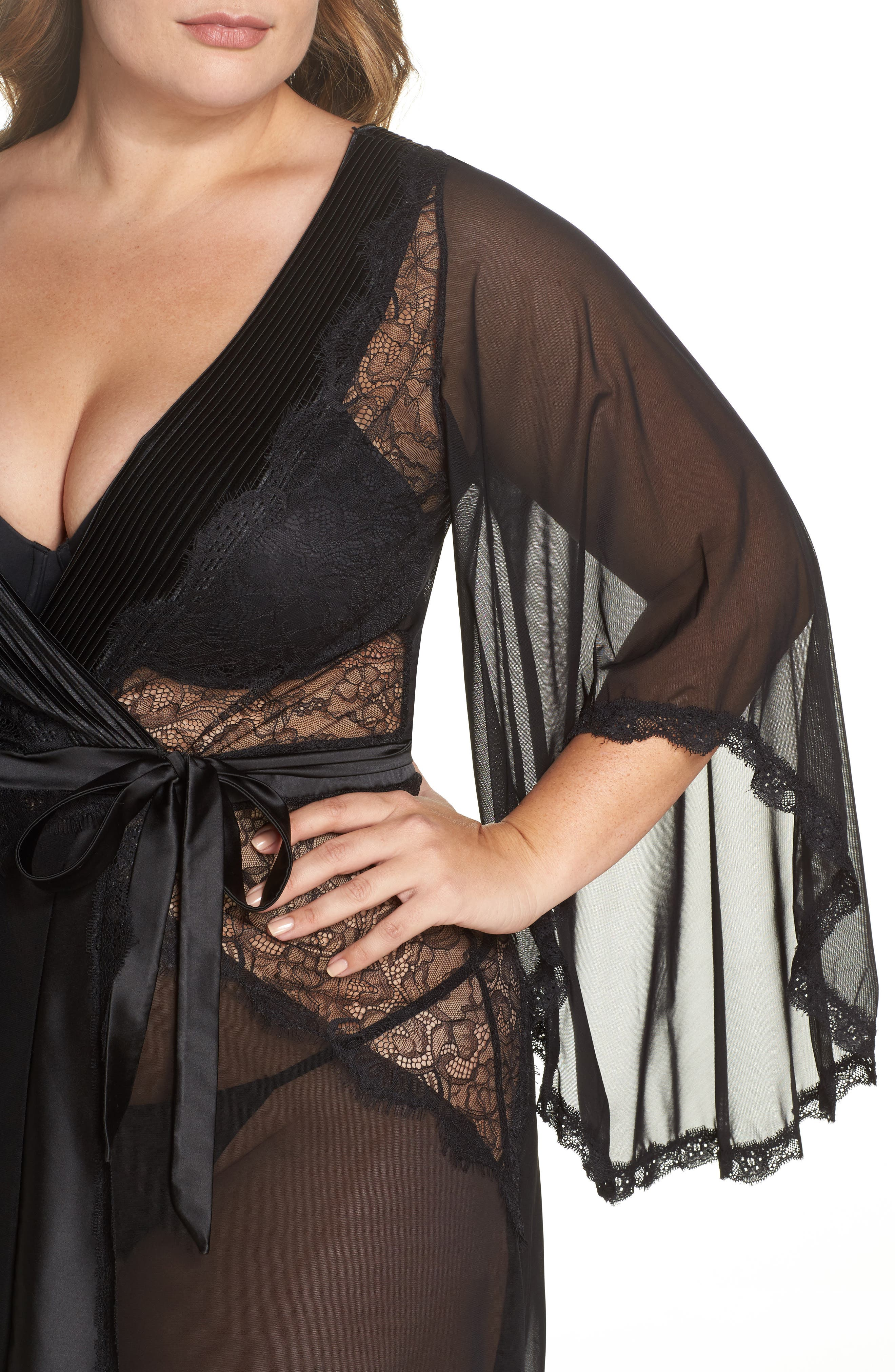 Alternate Image 5  - Oh La La Cheri Nicolette Sheer Robe & G-String (Plus Size)