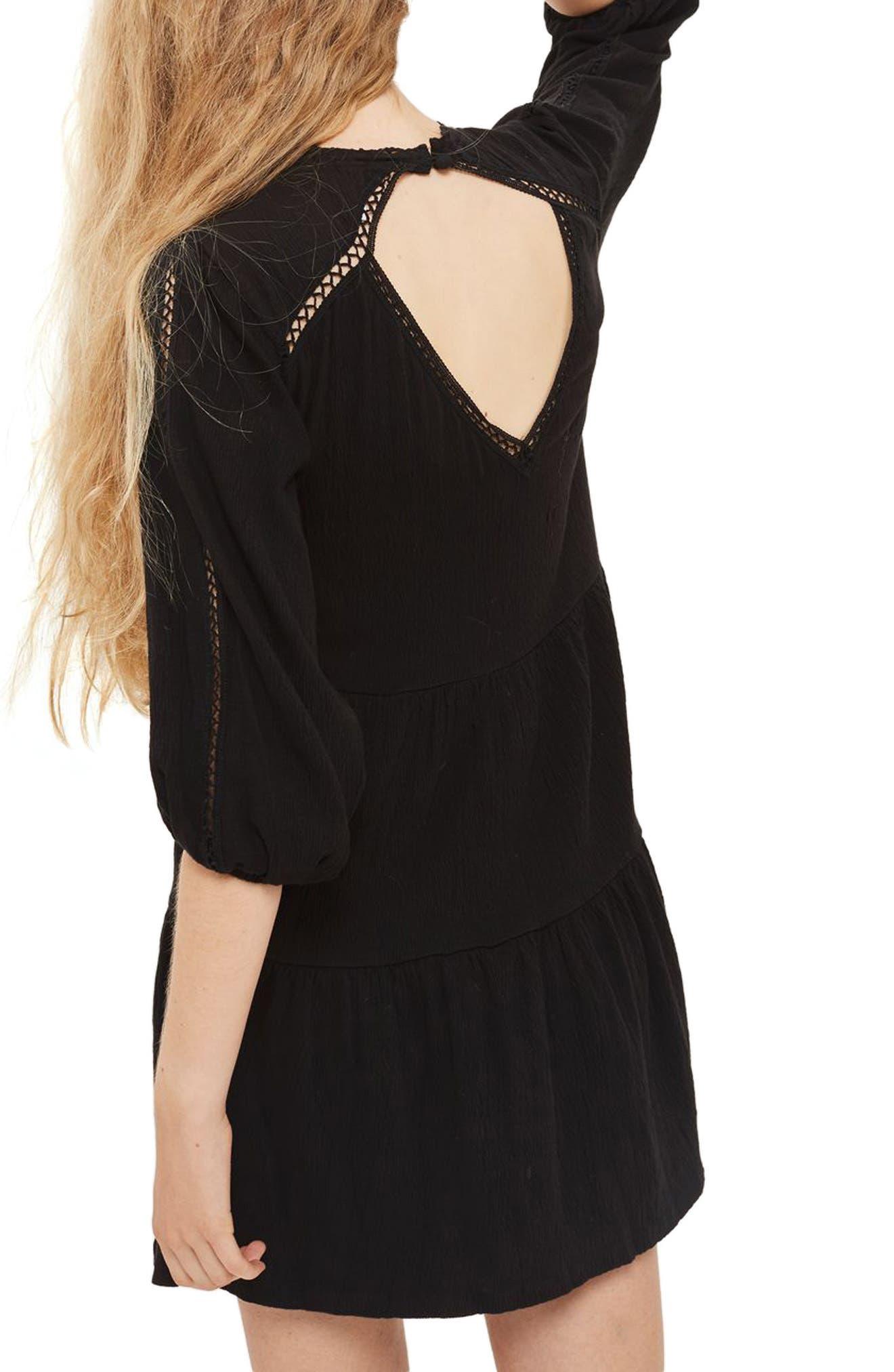 Embroidered Smock Dress,                             Alternate thumbnail 2, color,                             Black Multi