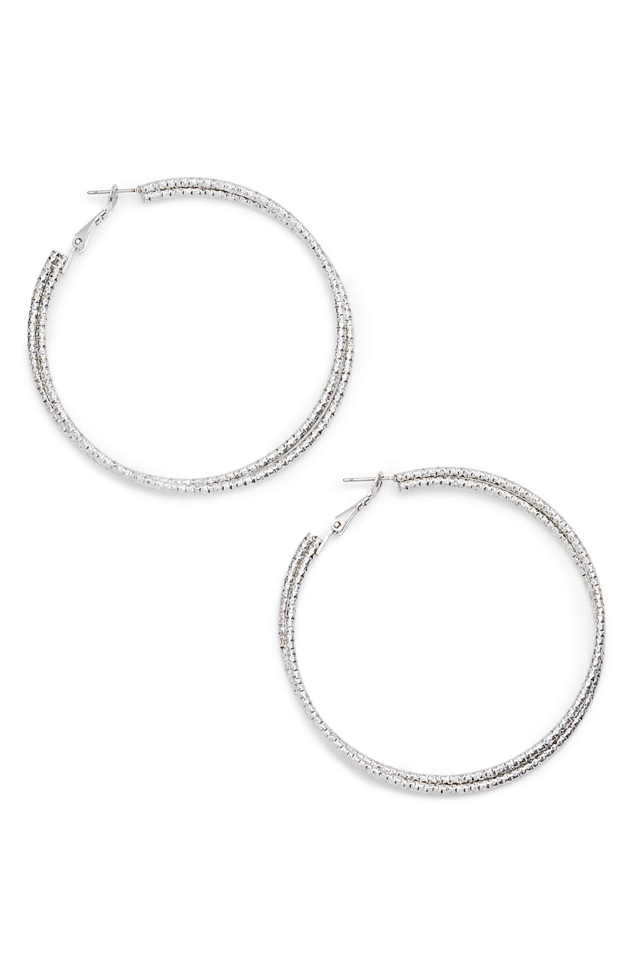 Textured Hoop Earrings,                         Main,                         color, Silver/ Crystal
