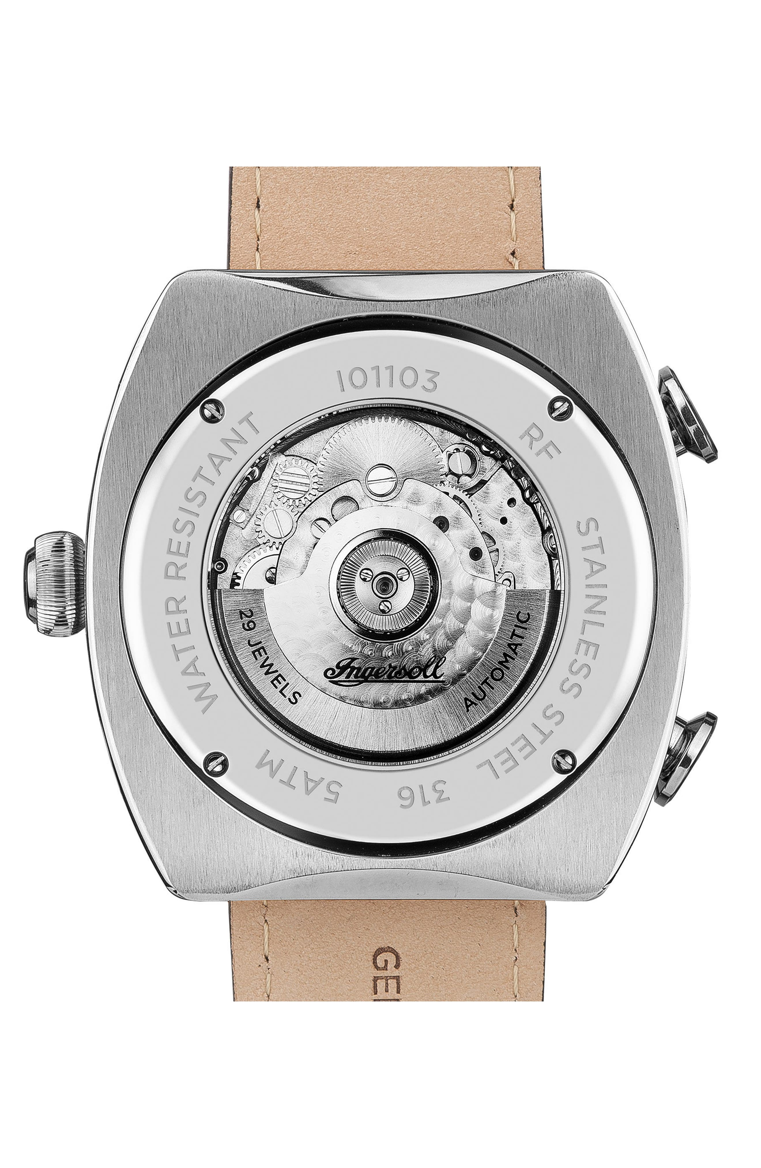 Ingersoll Michigan Automatic Multifunction Leather Strap Watch, 45mm,                             Alternate thumbnail 2, color,                             Brown/ Silver/ Rose Gold