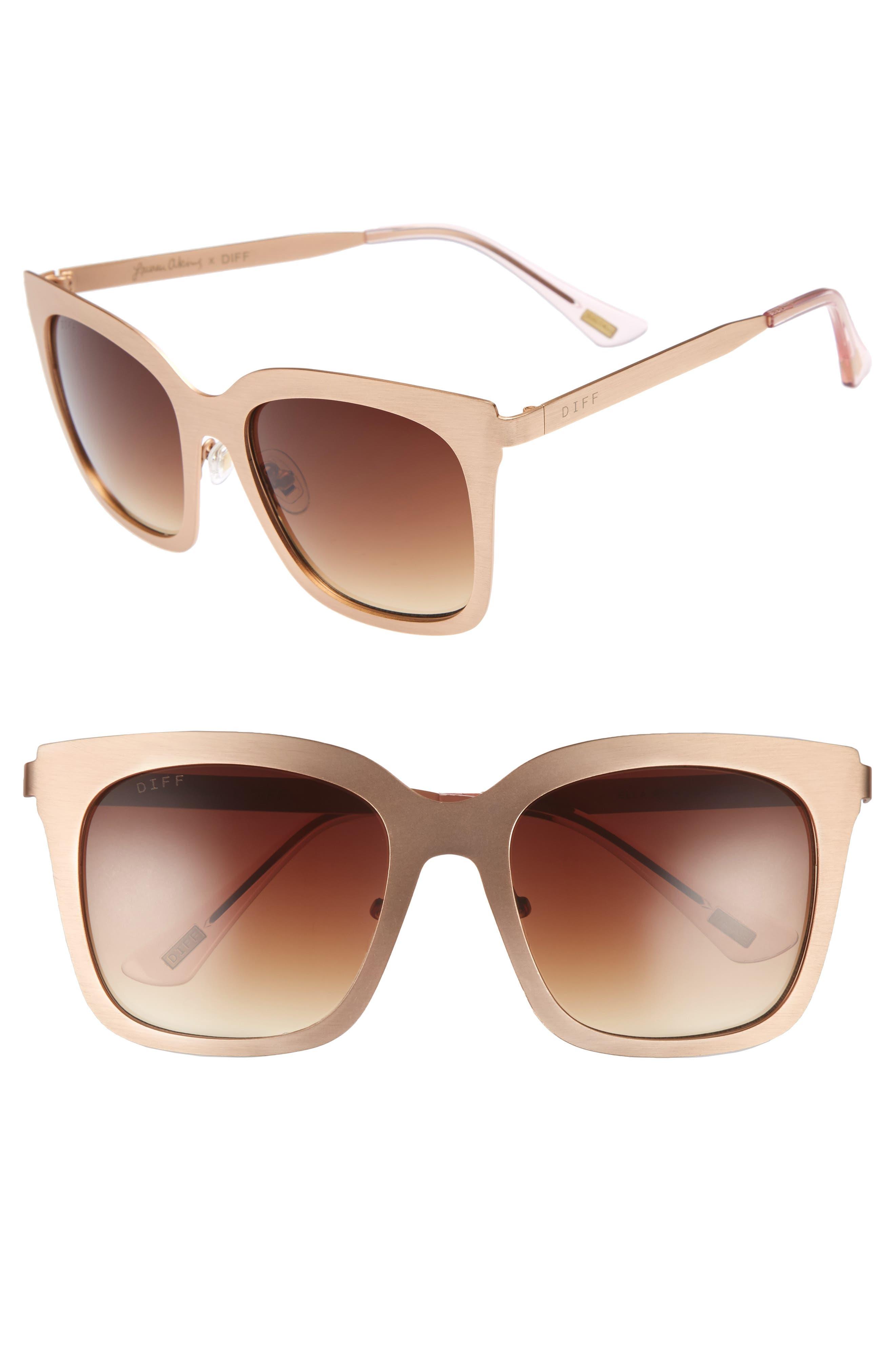 x Lauren Akins Ella 55mm Cat Eye Sunglasses,                         Main,                         color, Gold/ Brown