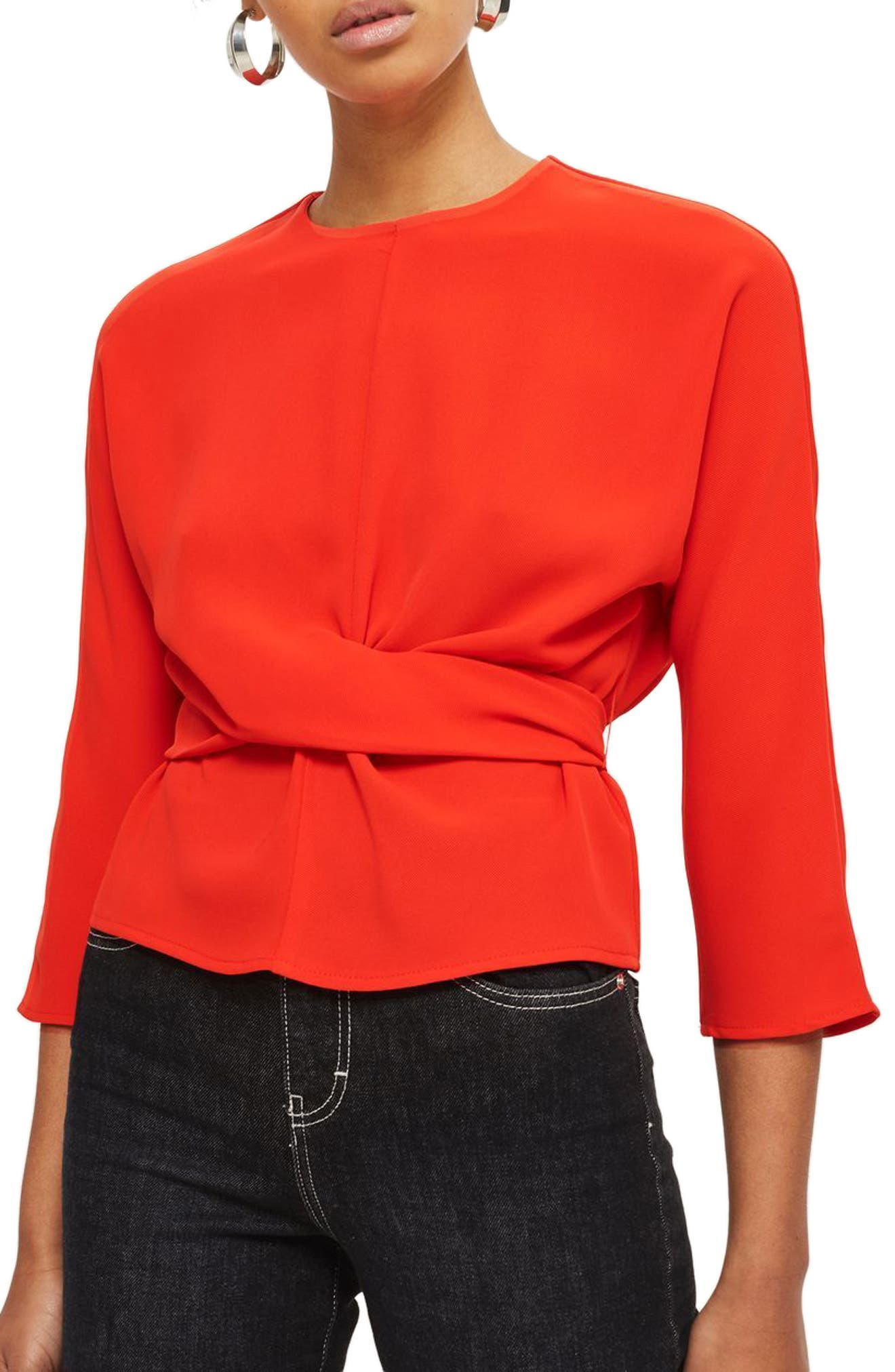 Wrap Waist Top,                         Main,                         color, Red