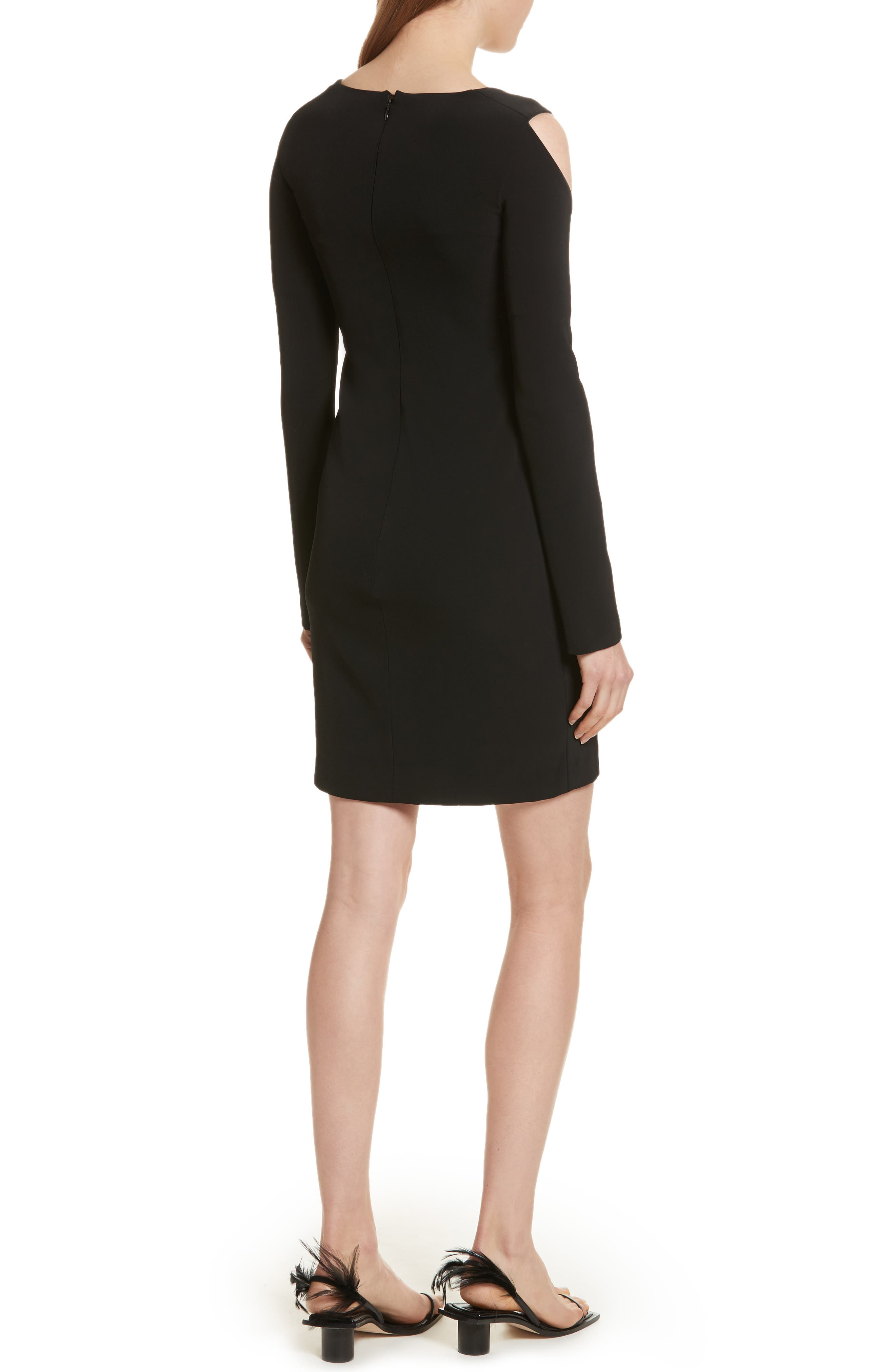 Cold Shoulder Sheath Dress,                             Alternate thumbnail 2, color,                             Black