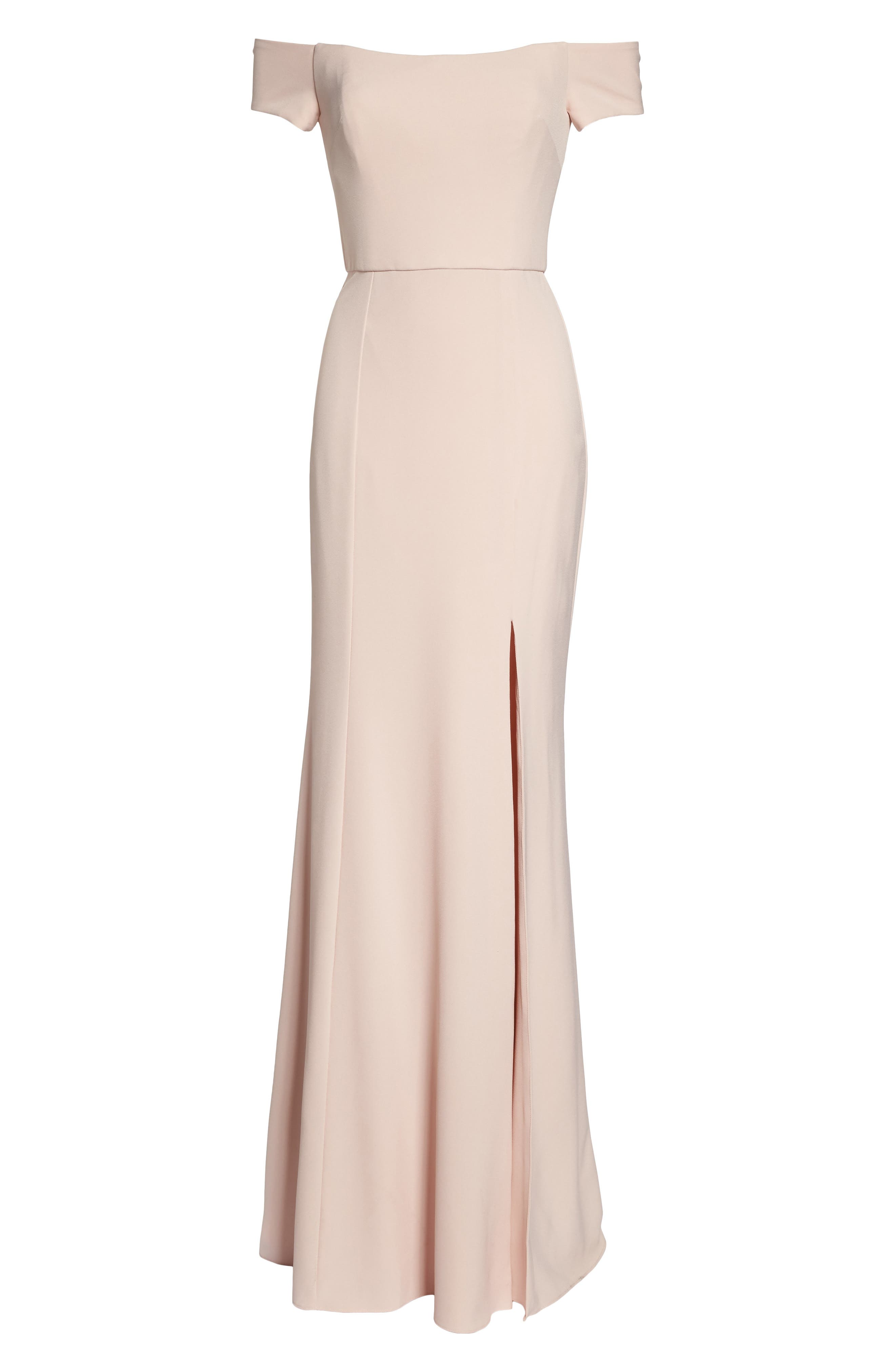 Off the Shoulder Crepe Gown,                             Alternate thumbnail 6, color,                             Blush