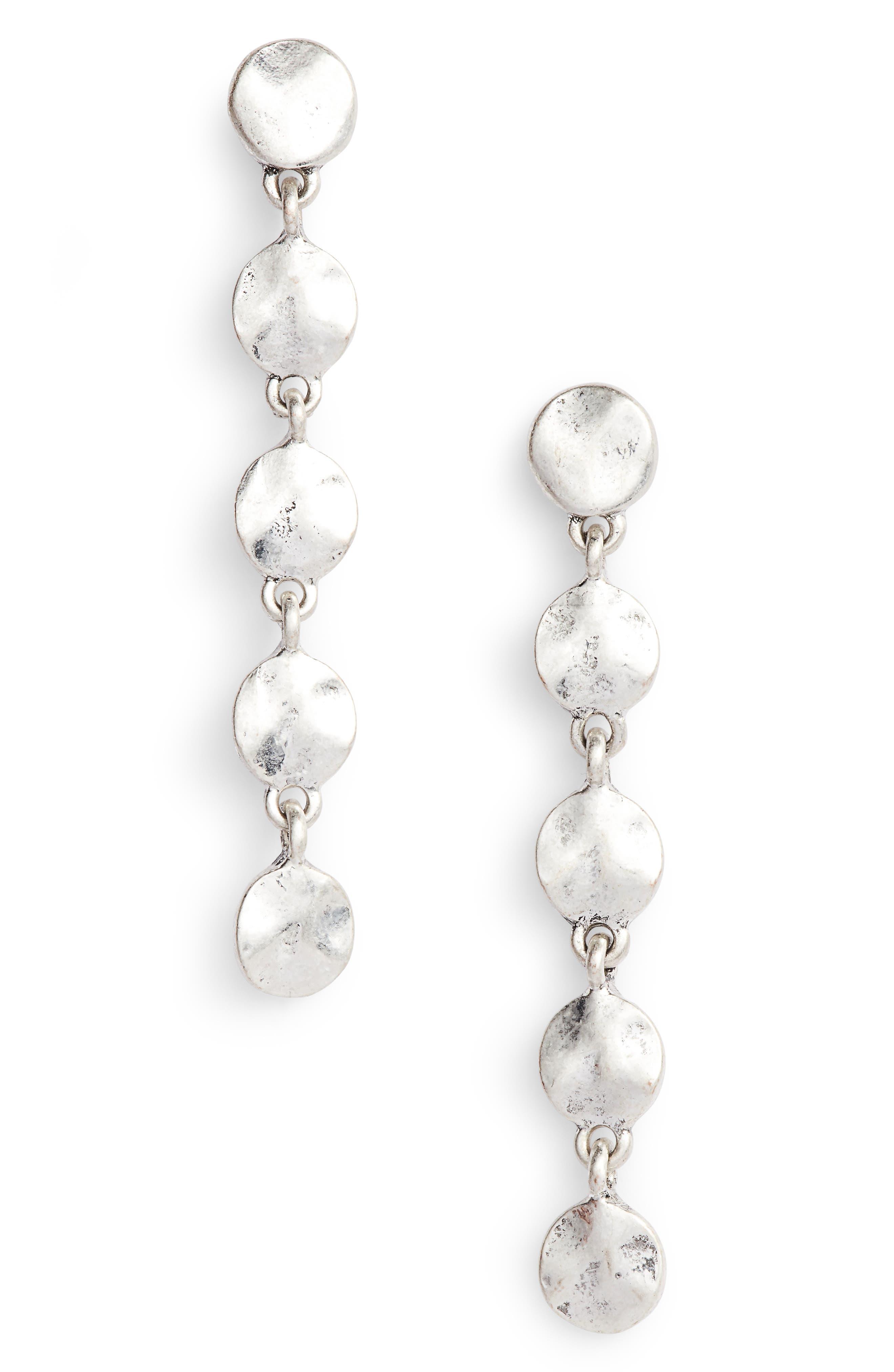 Linear Drop Earrings,                             Main thumbnail 1, color,                             Rhodium