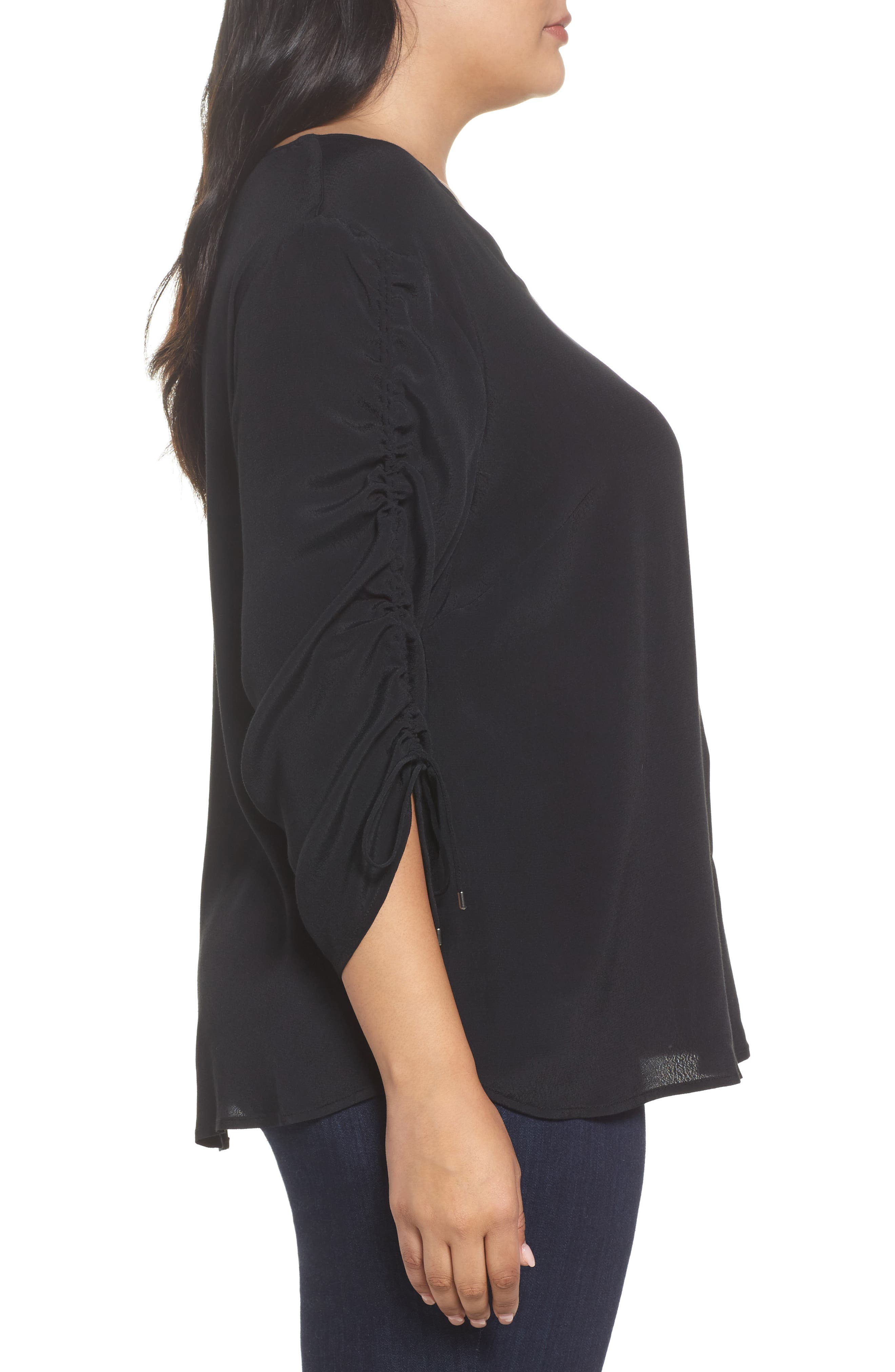 Cinched Sleeve Top,                             Alternate thumbnail 3, color,                             Black