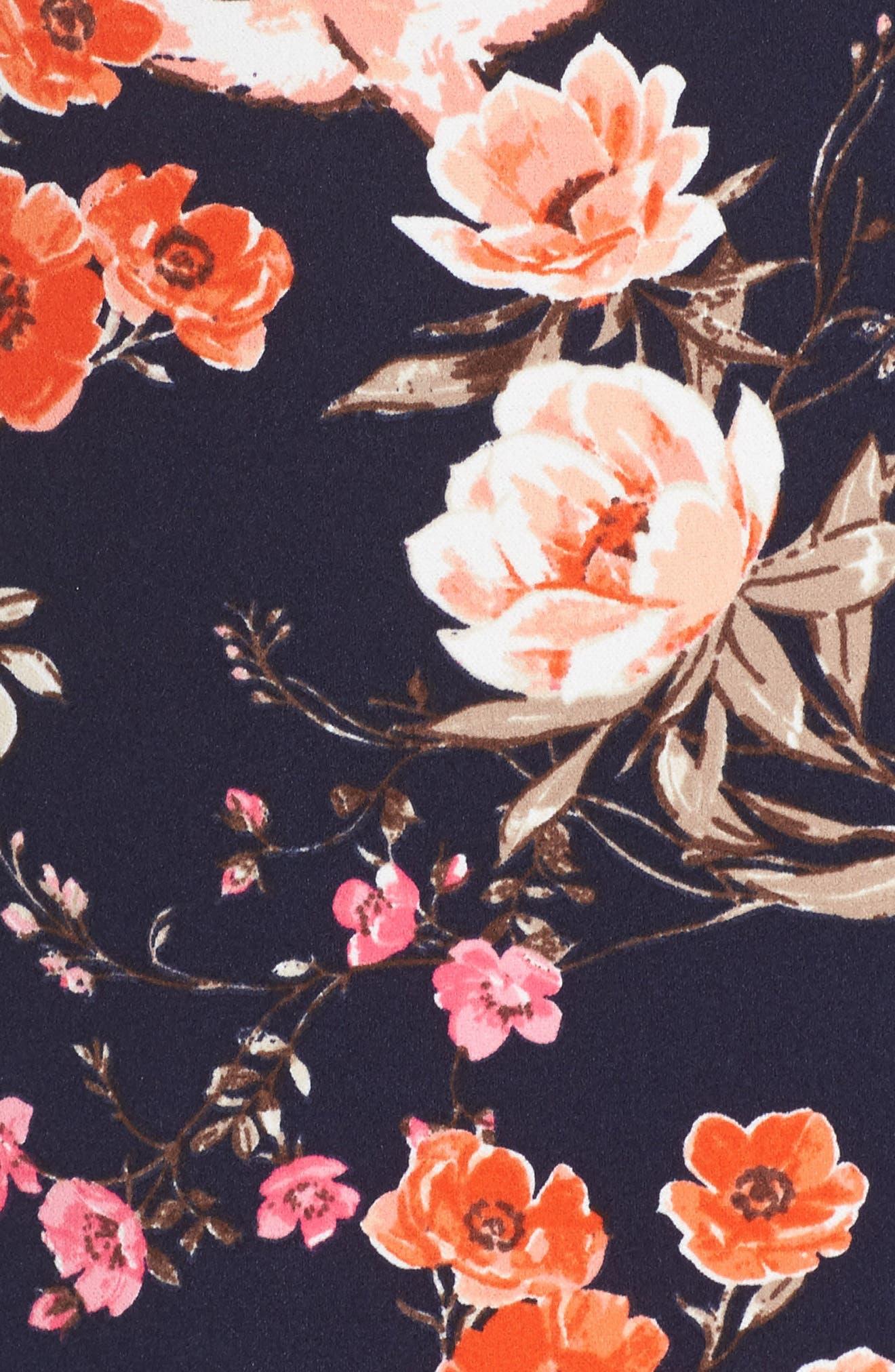 Bell Sleeve Ruffle Hem Shift Dress,                             Alternate thumbnail 5, color,                             Navy