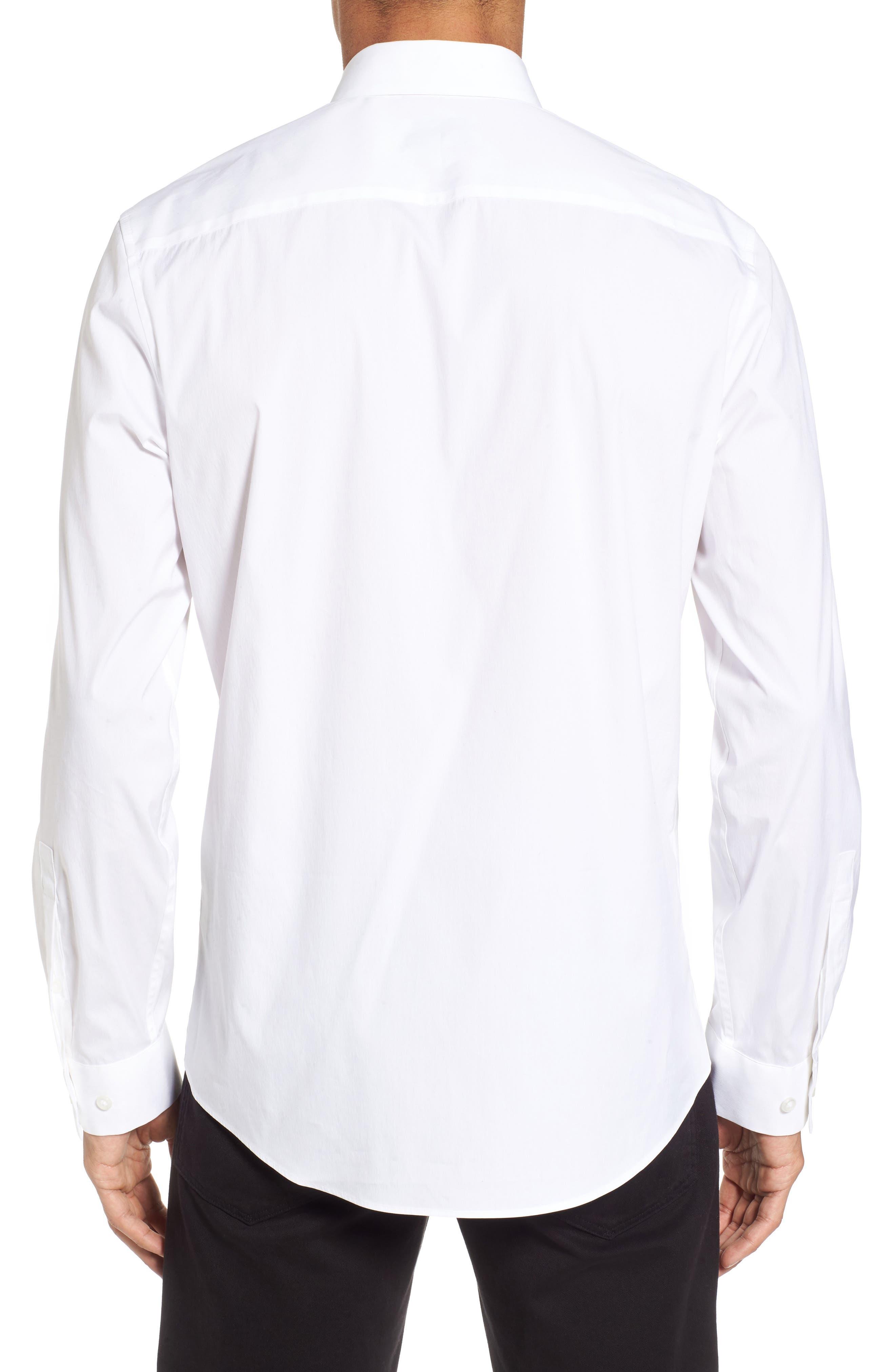 Trim Fit Stretch Sport Shirt,                             Alternate thumbnail 2, color,                             White