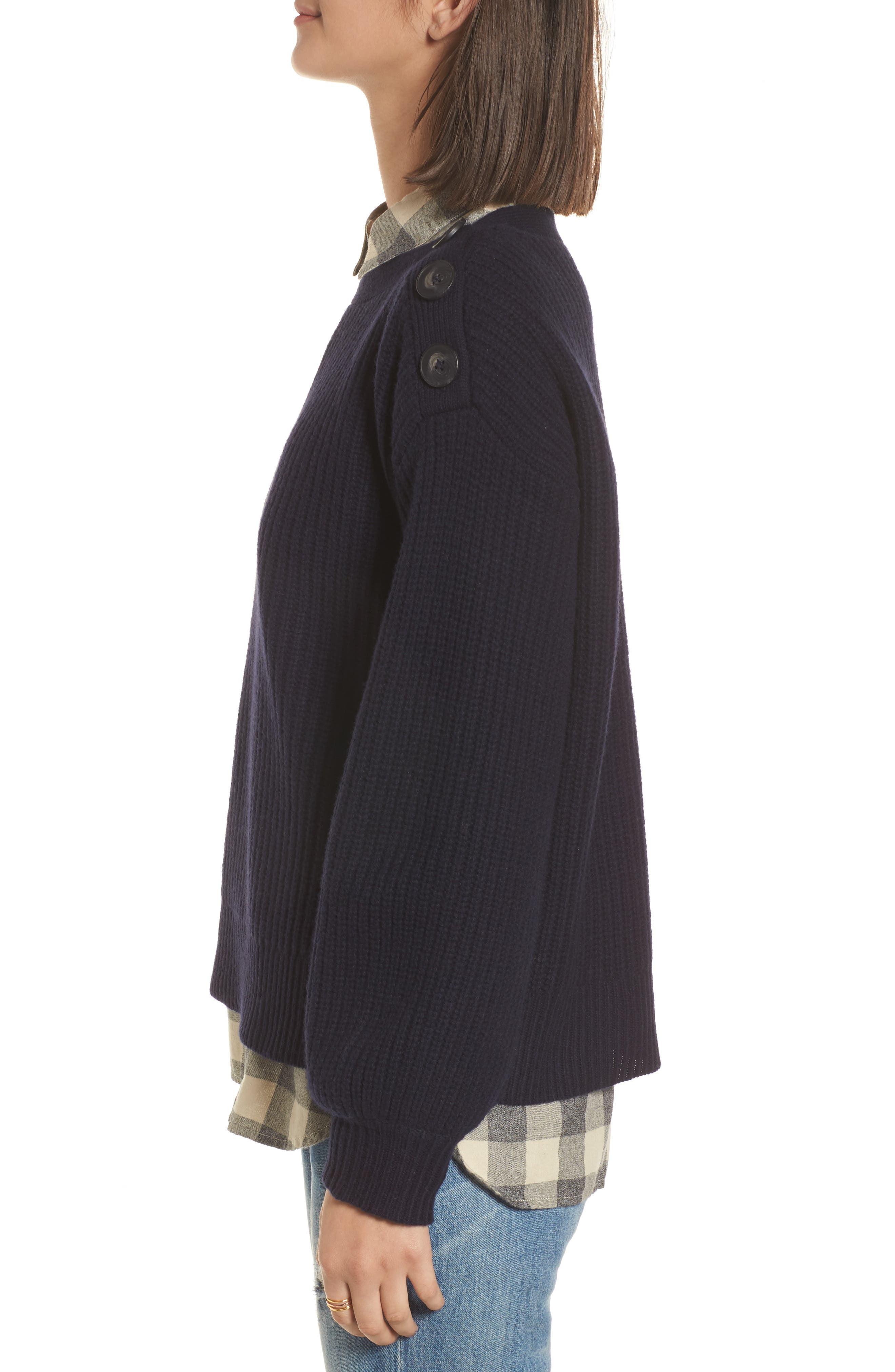 Boatneck Bubble Sleeve Sweater,                             Alternate thumbnail 3, color,                             Navy