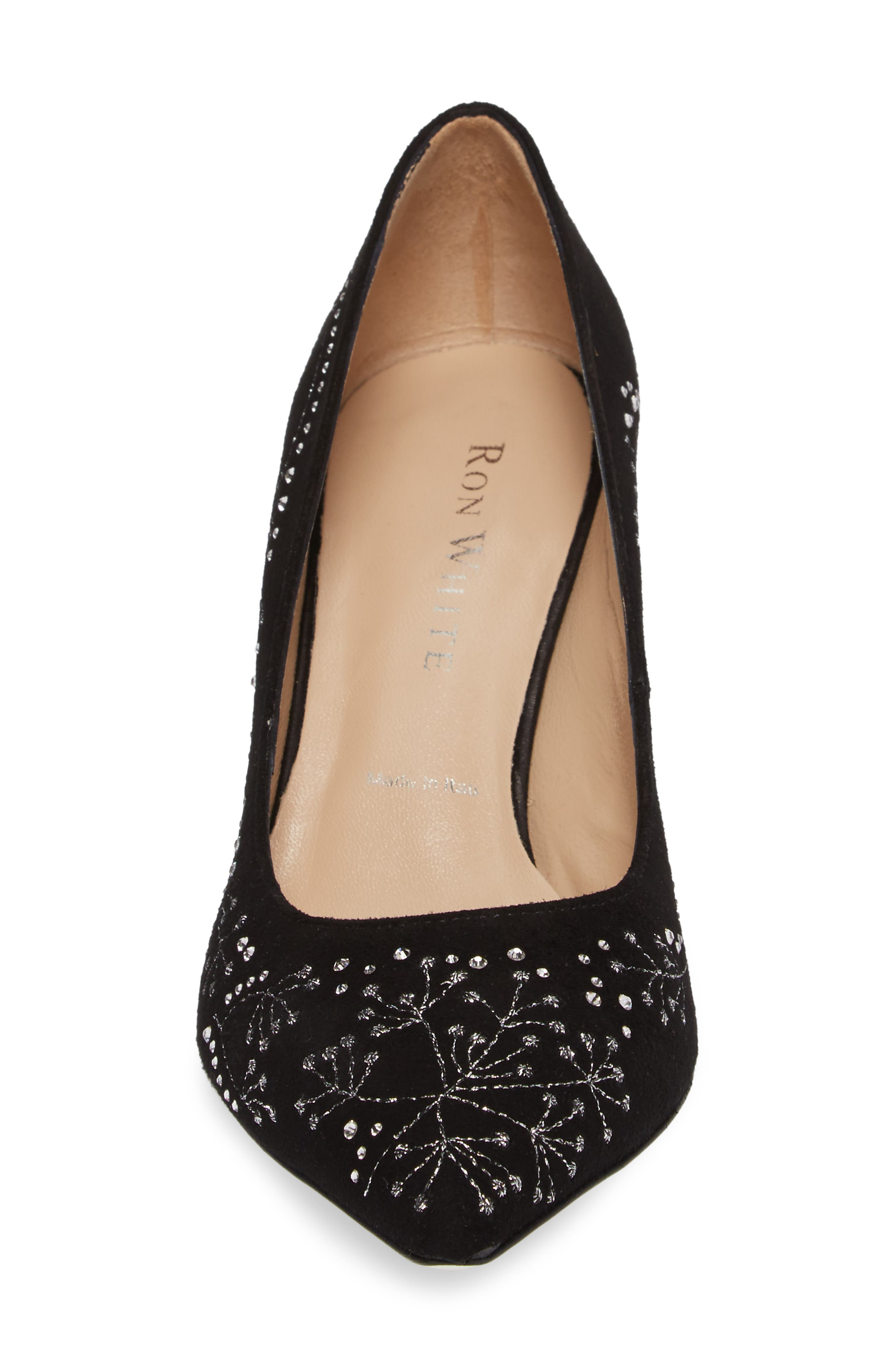 Carla Crystal Embellished Pump,                             Alternate thumbnail 4, color,                             Onyx Suede