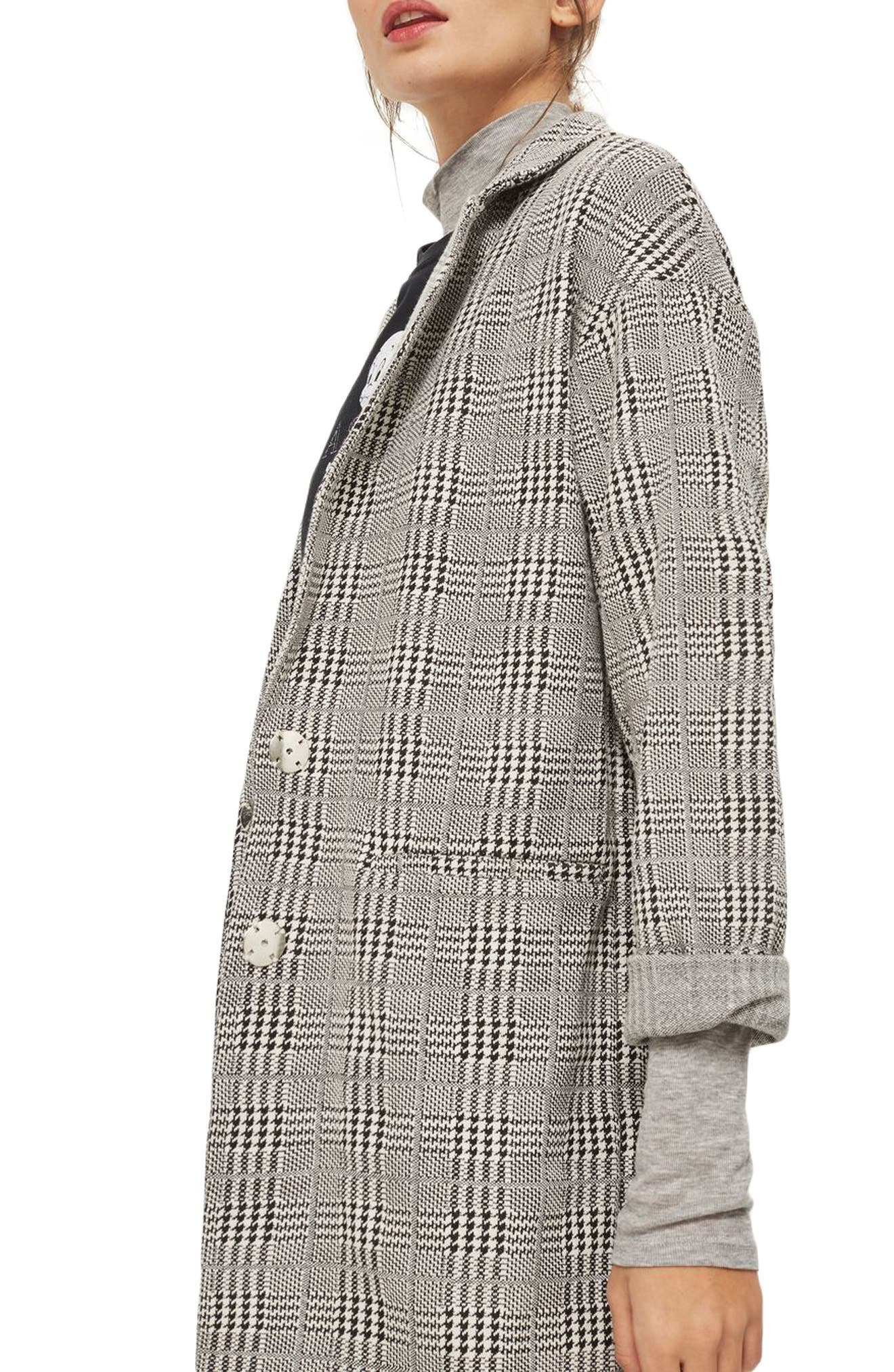 Check Jersey Duster Coat,                         Main,                         color, Grey Multi