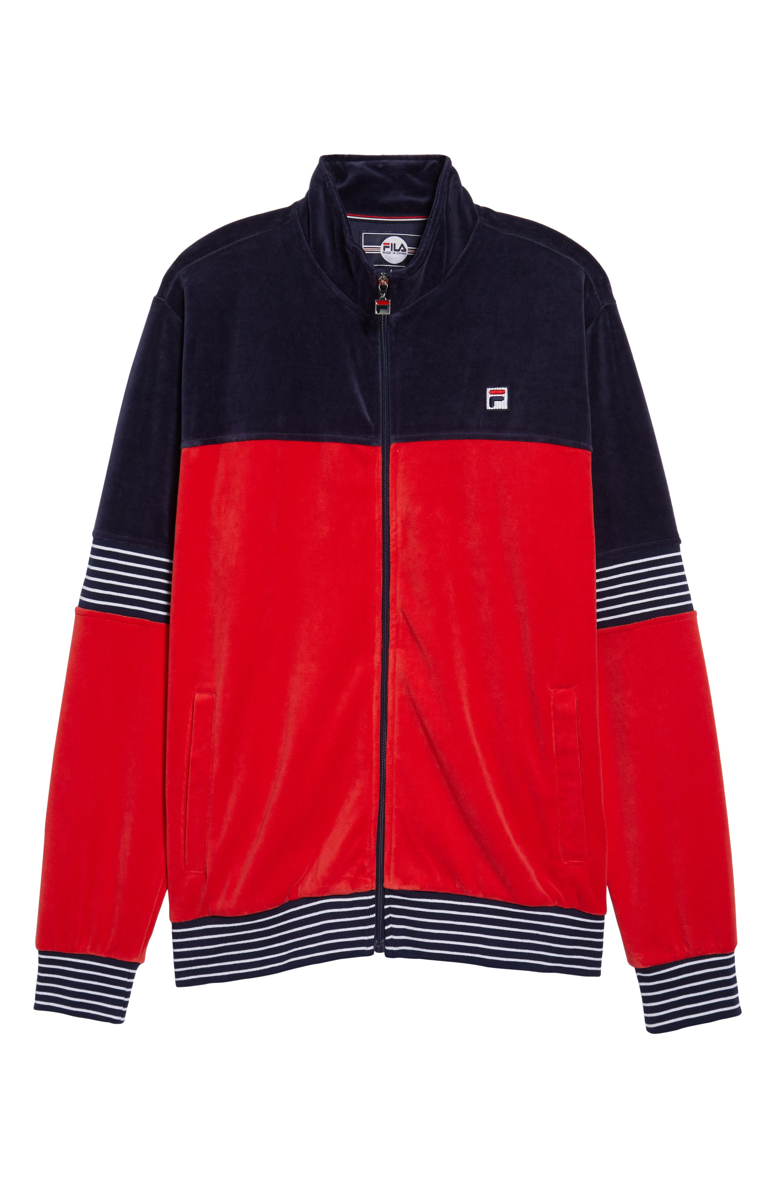 Marcus Velour Track Jacket,                             Alternate thumbnail 6, color,                             Navy/ Chinese Red/ White