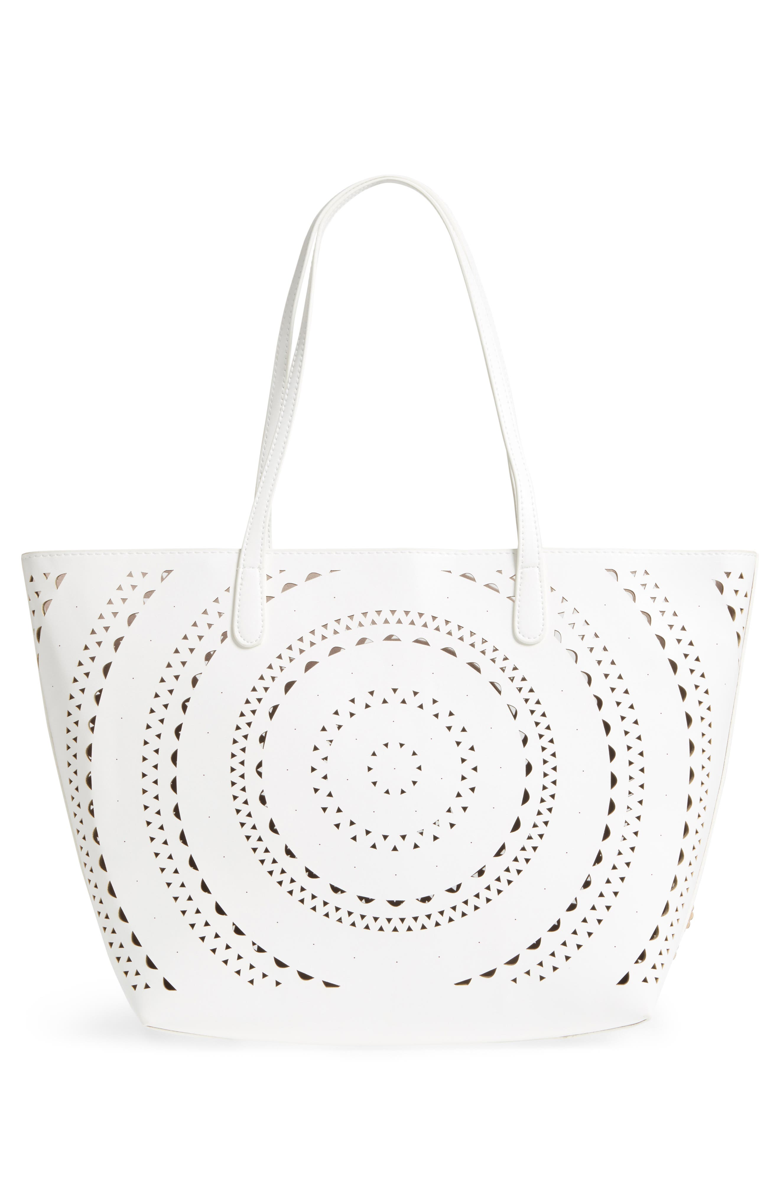Perforated Glitter Flower Faux Leather Tote,                             Alternate thumbnail 7, color,                             White