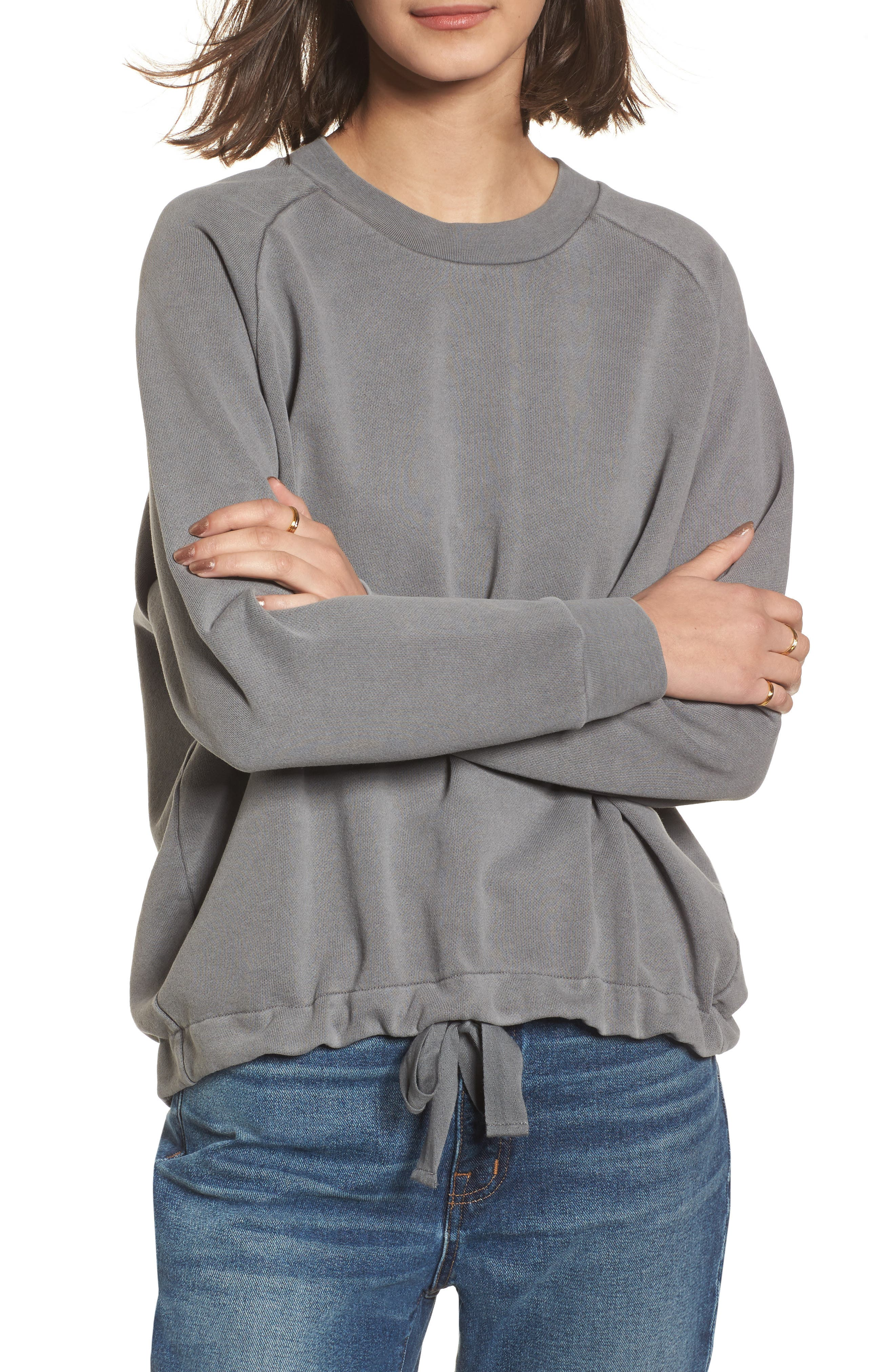 Drawstring Sweatshirt,                         Main,                         color, Walrus