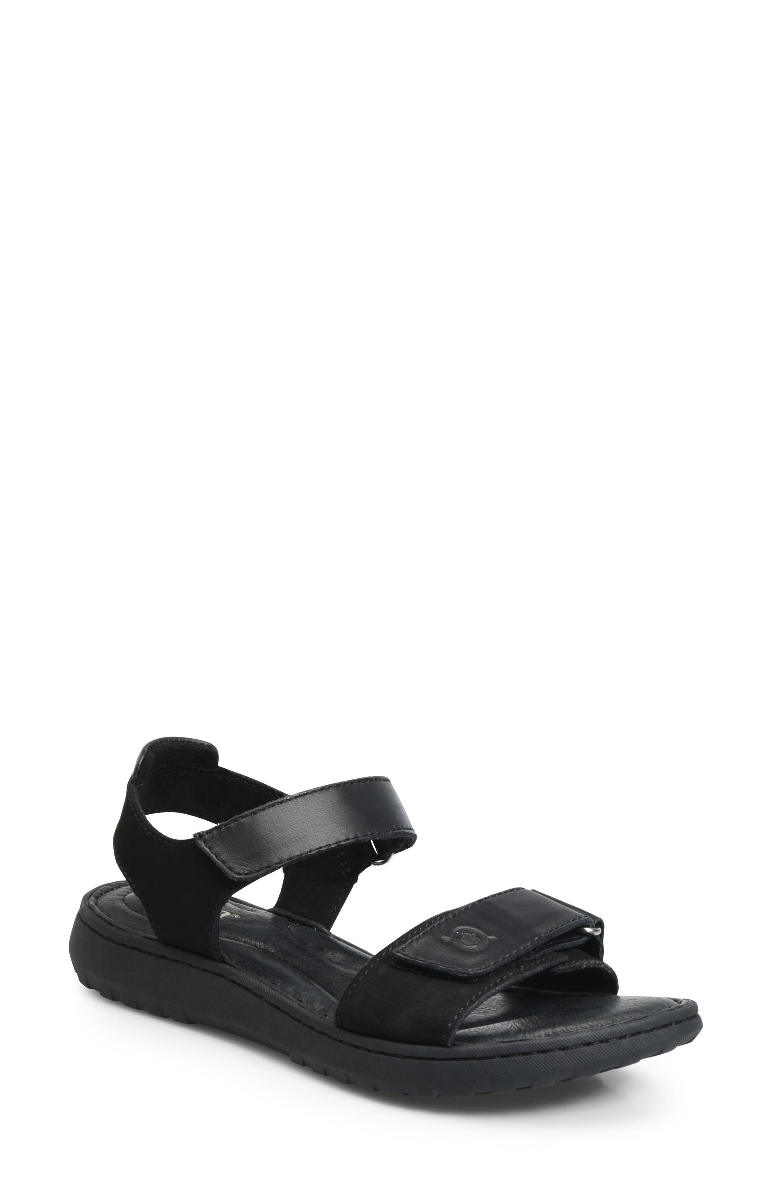 Nirvana Sandal,                             Main thumbnail 1, color,                             Black Leather
