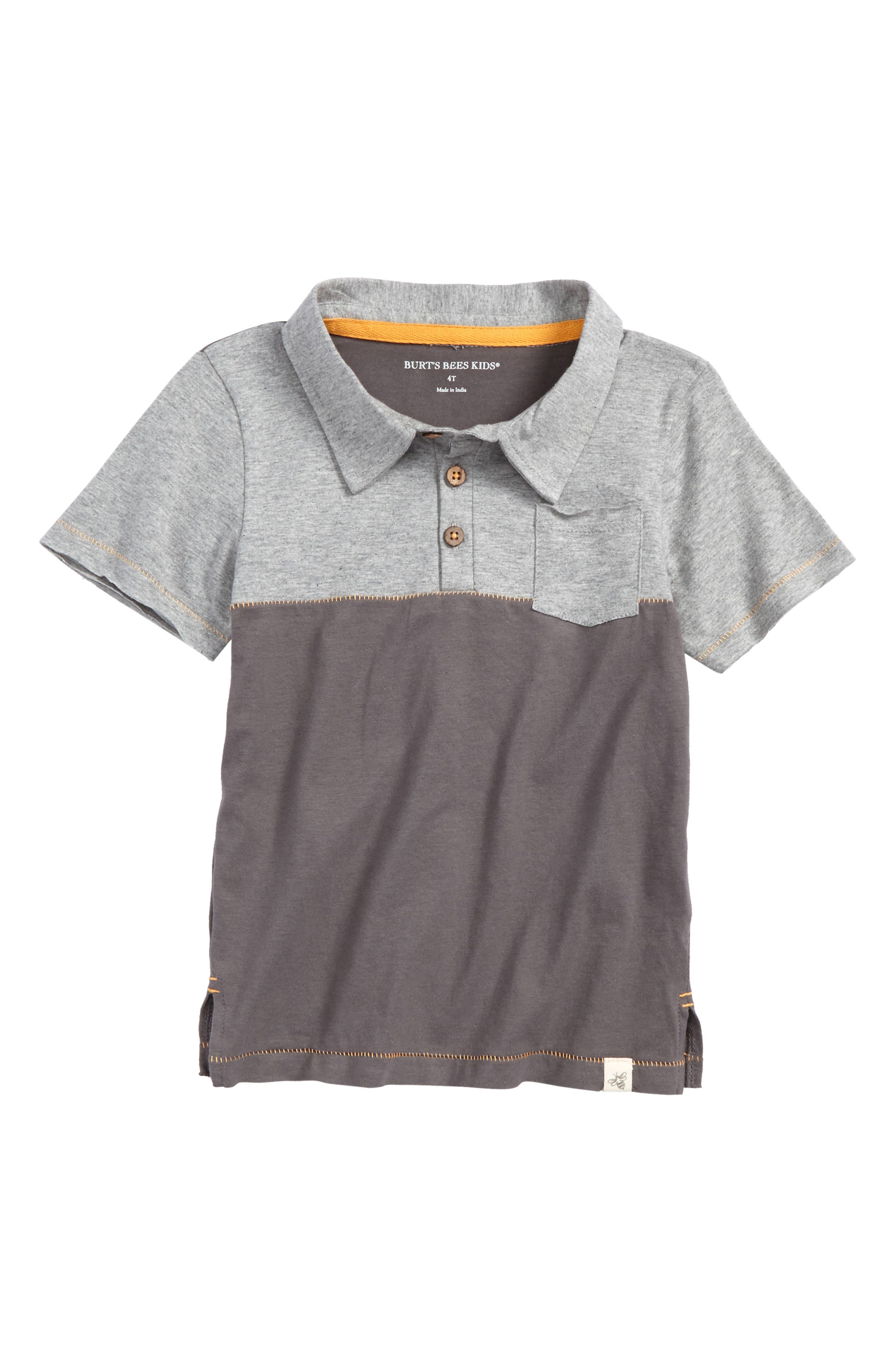 Colorblock Organic Cotton Polo,                         Main,                         color, Slate
