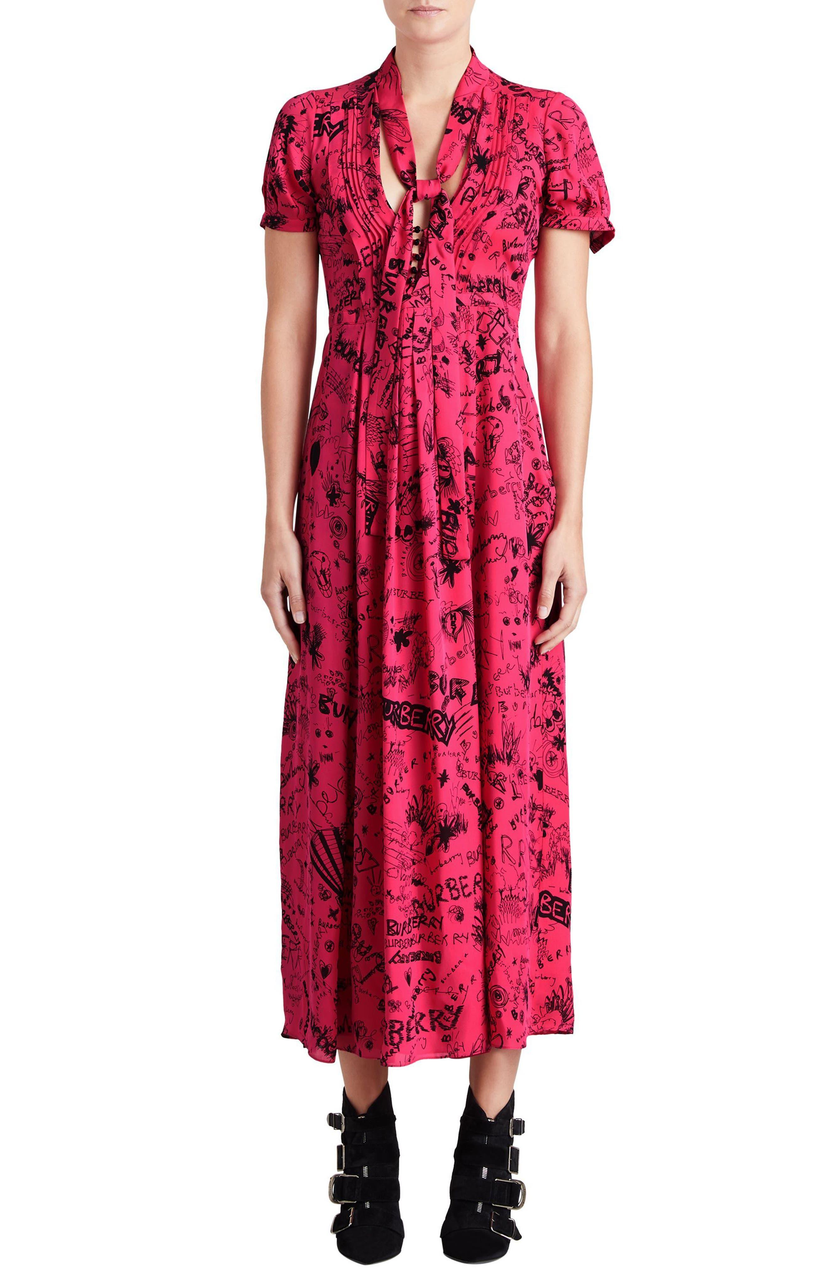 Antonina Doodle Print Silk Midi Dress,                         Main,                         color, Fluro Pink