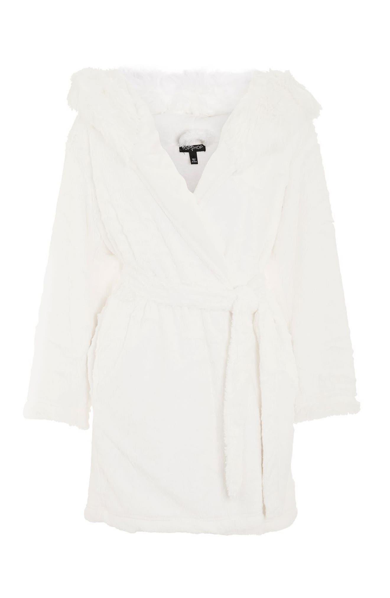 Faux Fur Hooded Short Robe,                             Alternate thumbnail 4, color,                             Cream