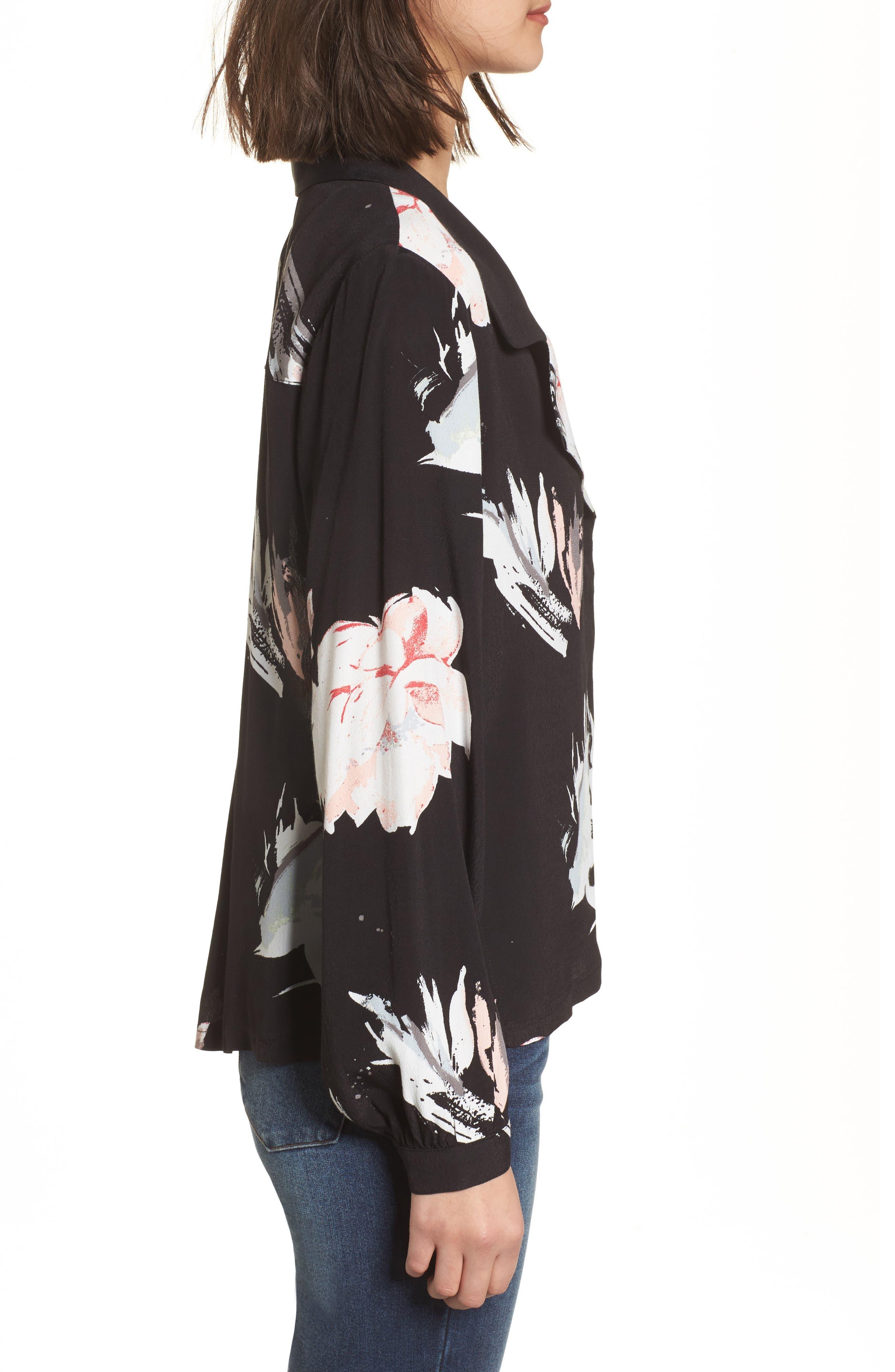 Notch Collar Print Blouse,                             Alternate thumbnail 3, color,                             Black Fierce Edge Floral
