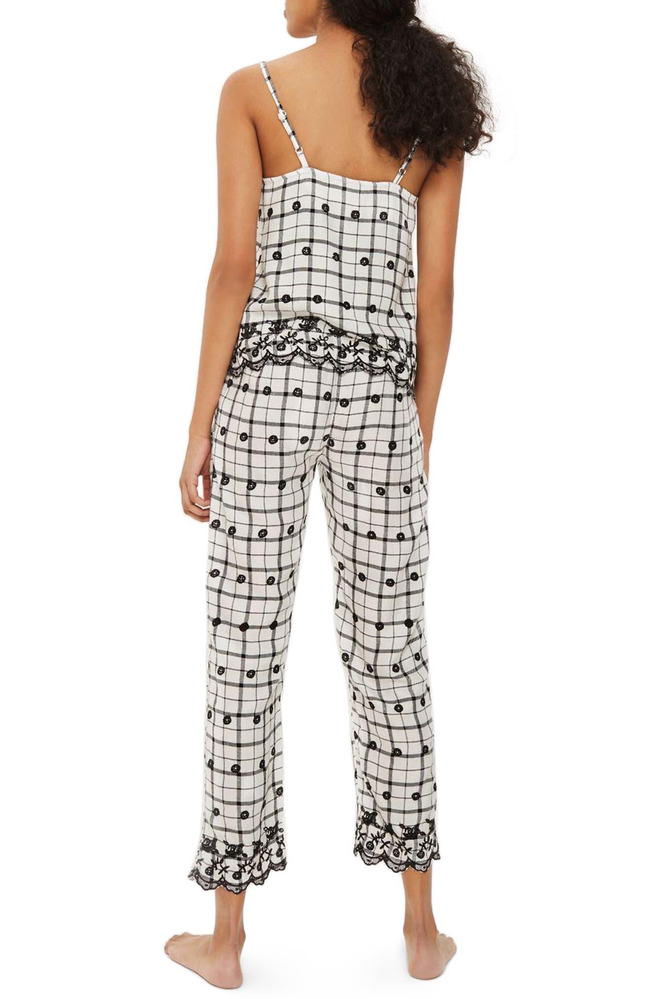 Embroidered Pajama Pants,                             Alternate thumbnail 2, color,                             White Multi