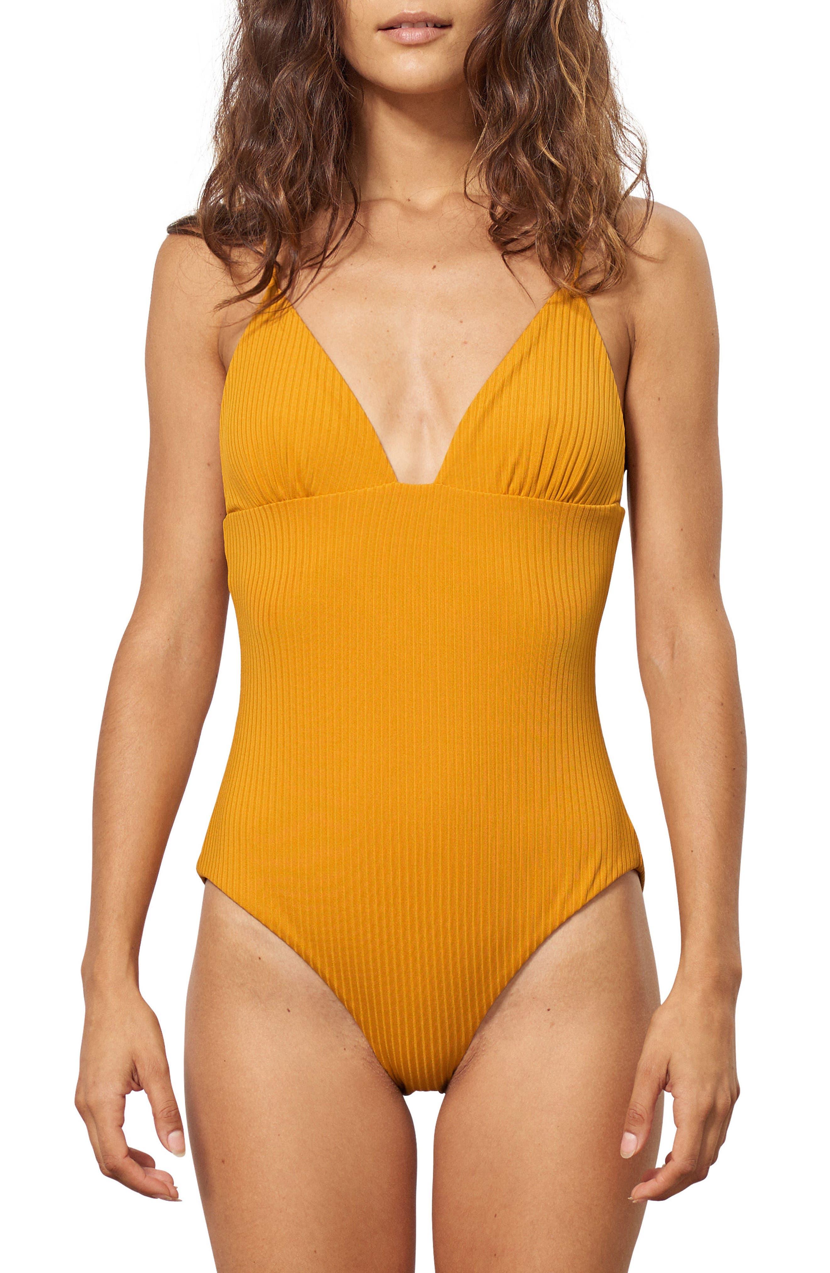 Virginia One-Piece Swimsuit,                         Main,                         color, Mustard