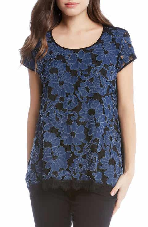 Karen Kane Denim Lace Top