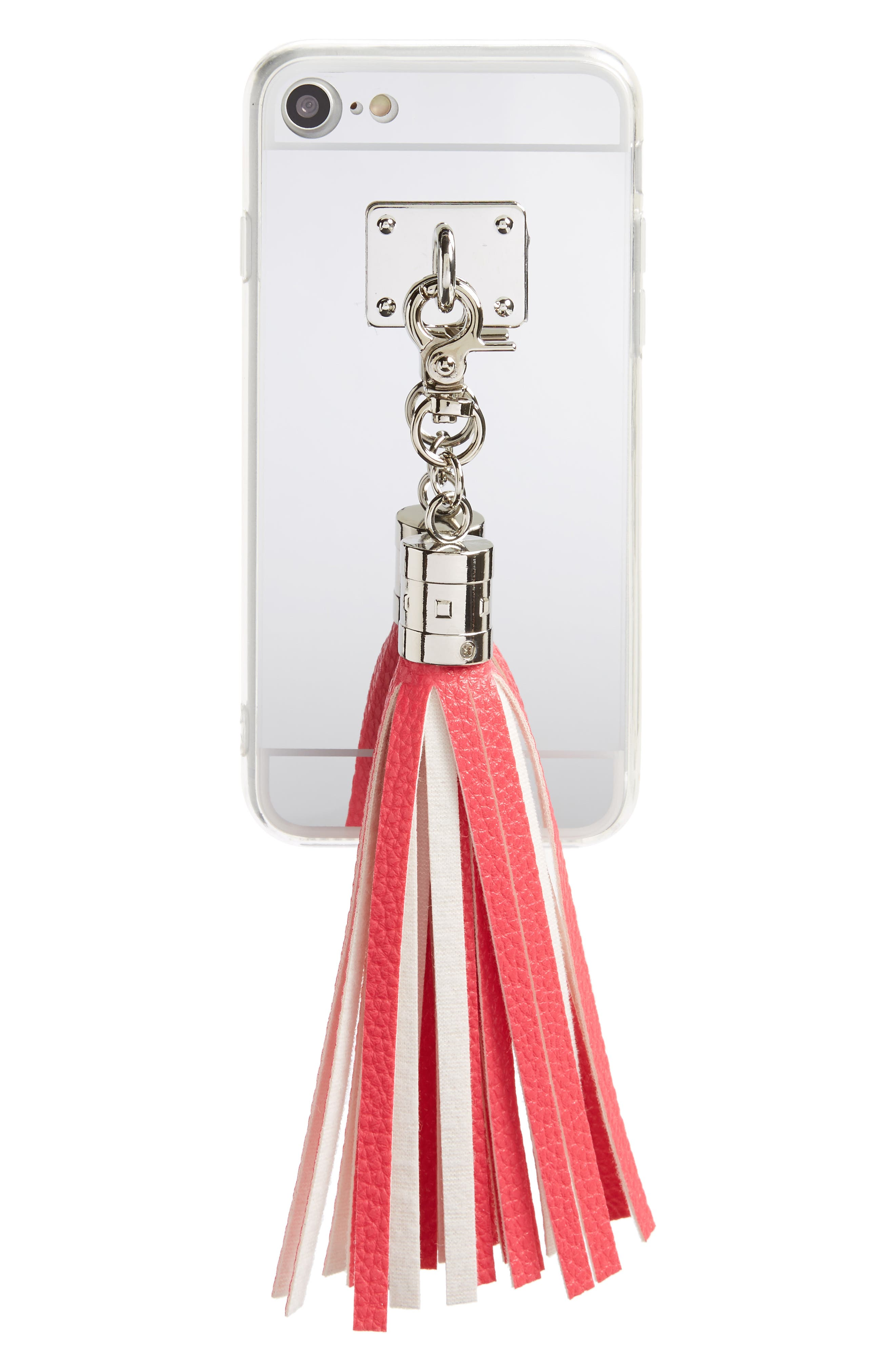 Mirrored Tassel iPhone 7 Case,                             Main thumbnail 1, color,                             Pink/Silver