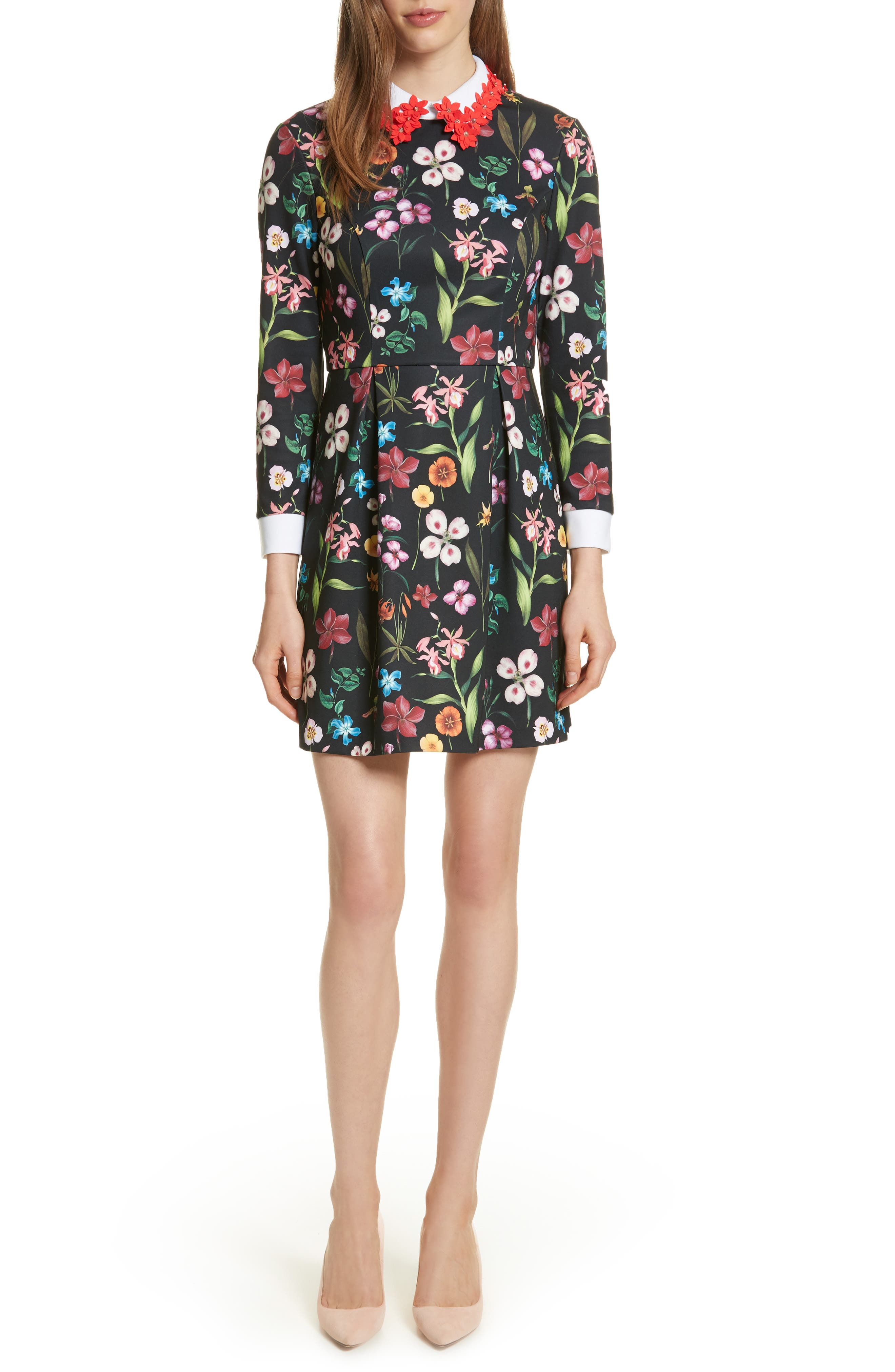 Hampton Embellished Collar Floral Dress,                         Main,                         color, Black