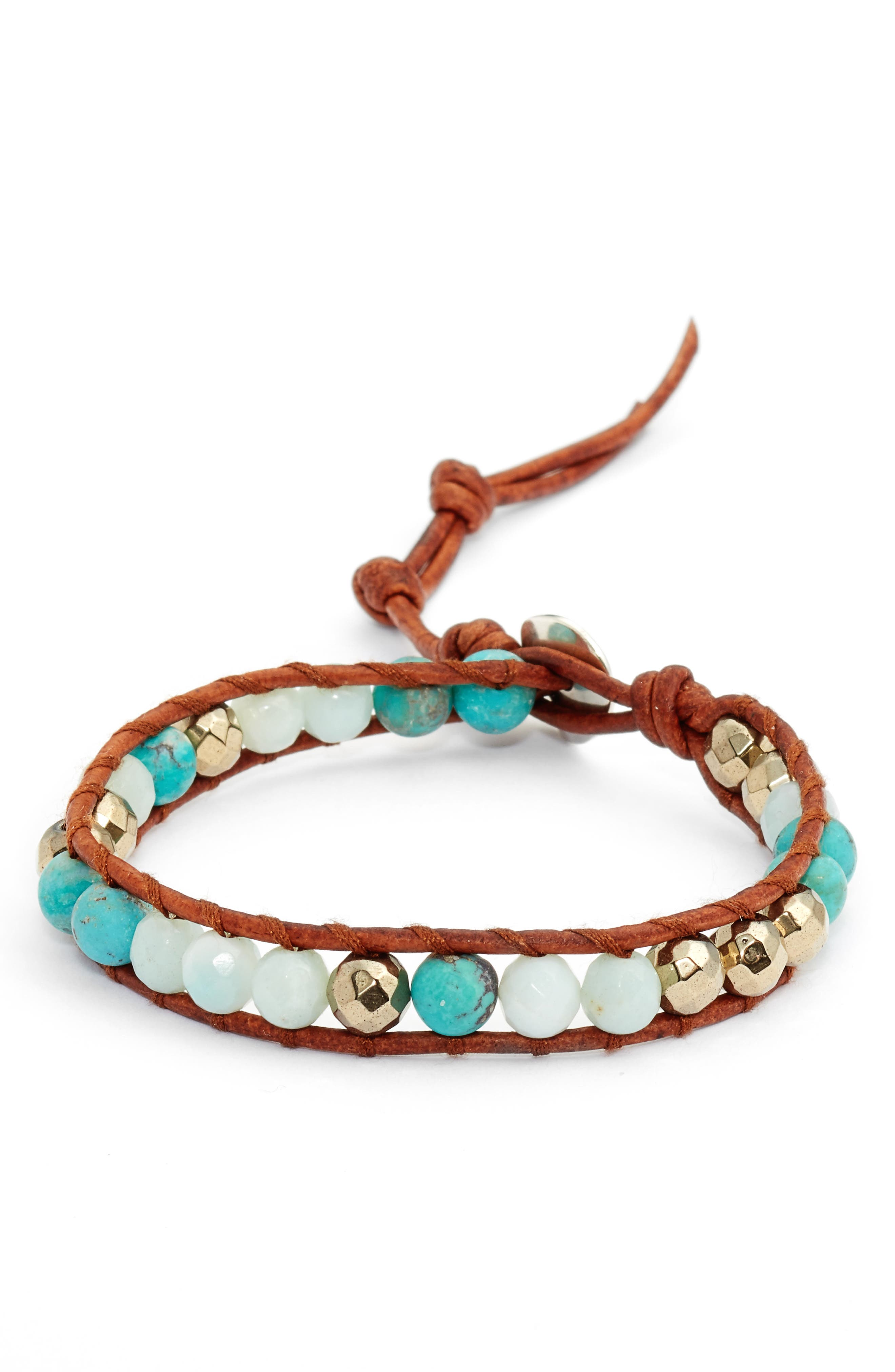 Mixed Semiprecious Stone Bracelet,                             Main thumbnail 1, color,                             Turquoise Mix