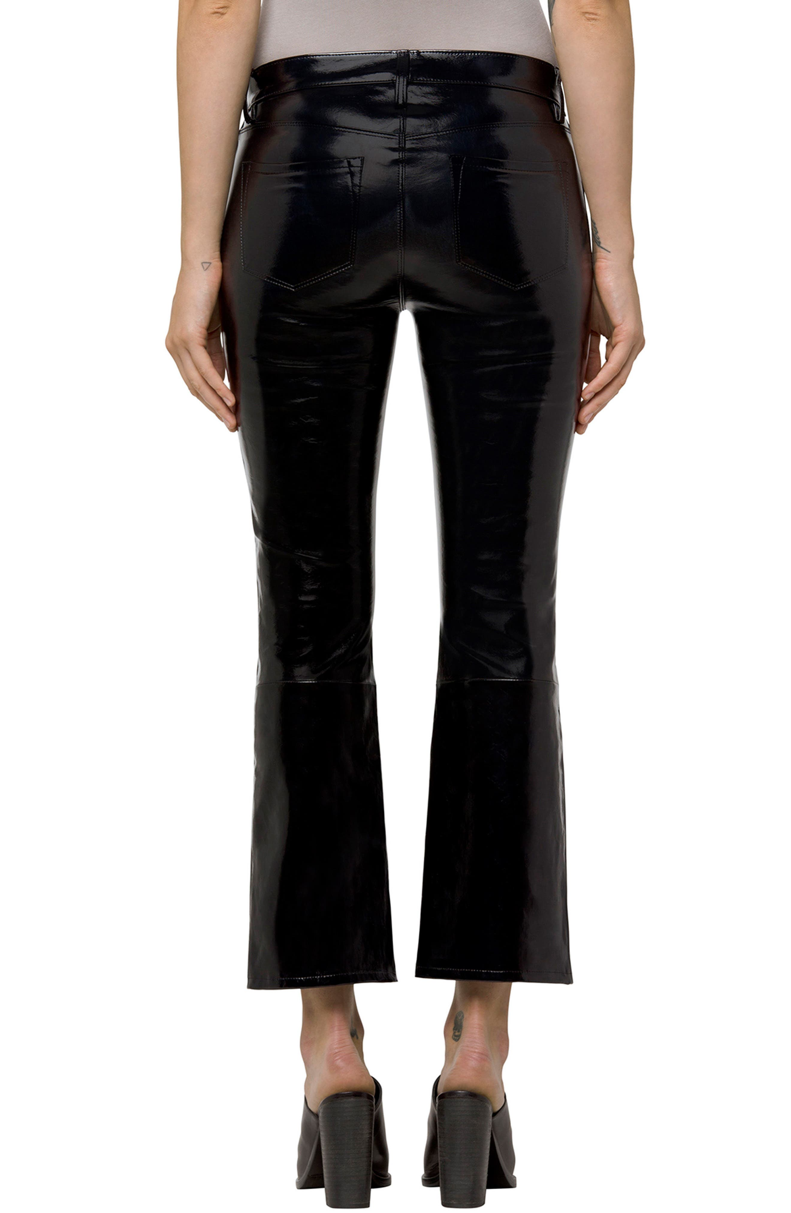 Selena Crop Bootcut Patent Leather Jeans,                             Alternate thumbnail 2, color,                             Patent Black
