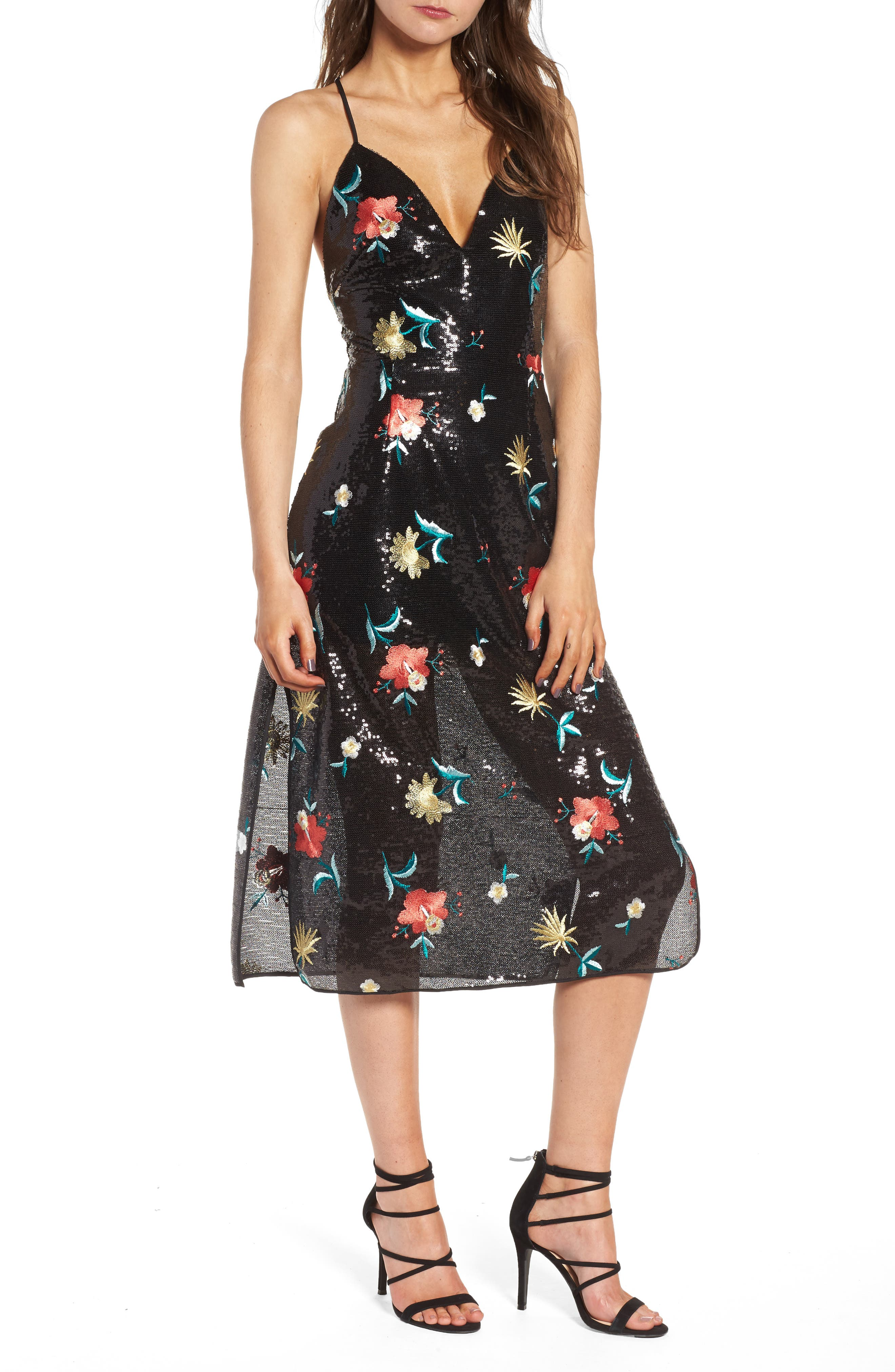 Melinda Midi Dress,                         Main,                         color, Black
