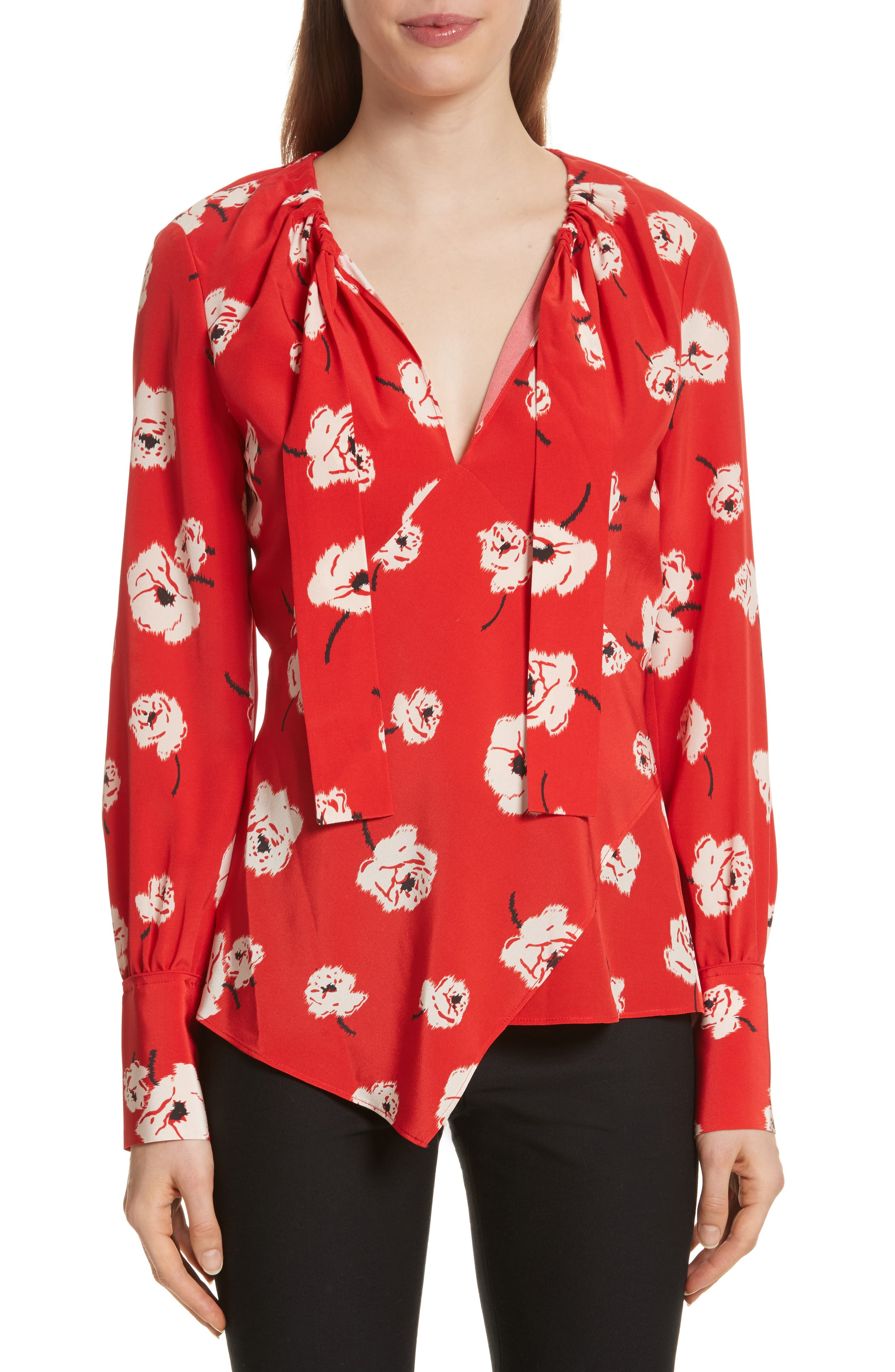 Asymmetrical Floral Silk Blouse,                         Main,                         color, Red Clay