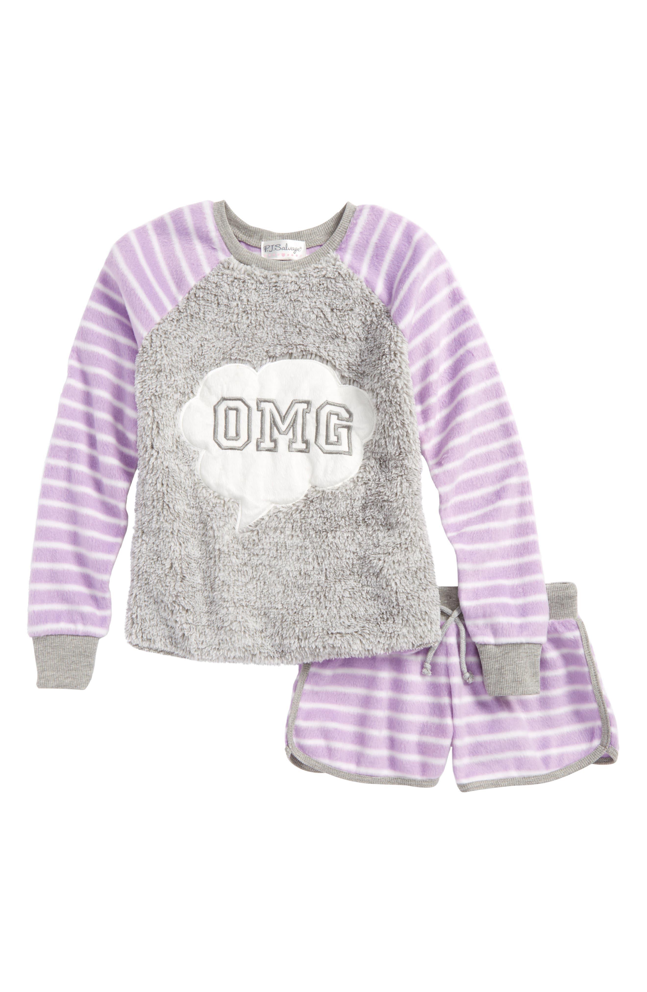 Appliqué Two-Piece Pajamas,                         Main,                         color, Purple