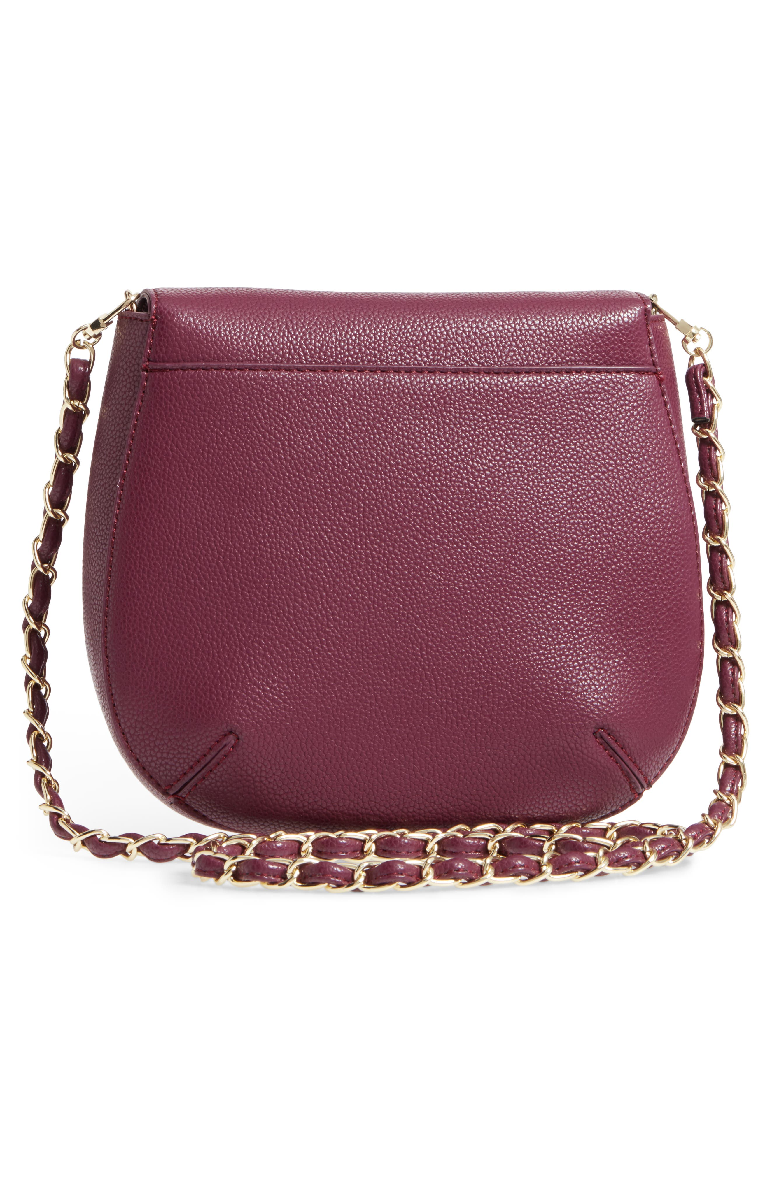 Isa Faux Leather Crossbody Bag,                             Alternate thumbnail 3, color,                             Berry Sweet/ Boysenberry