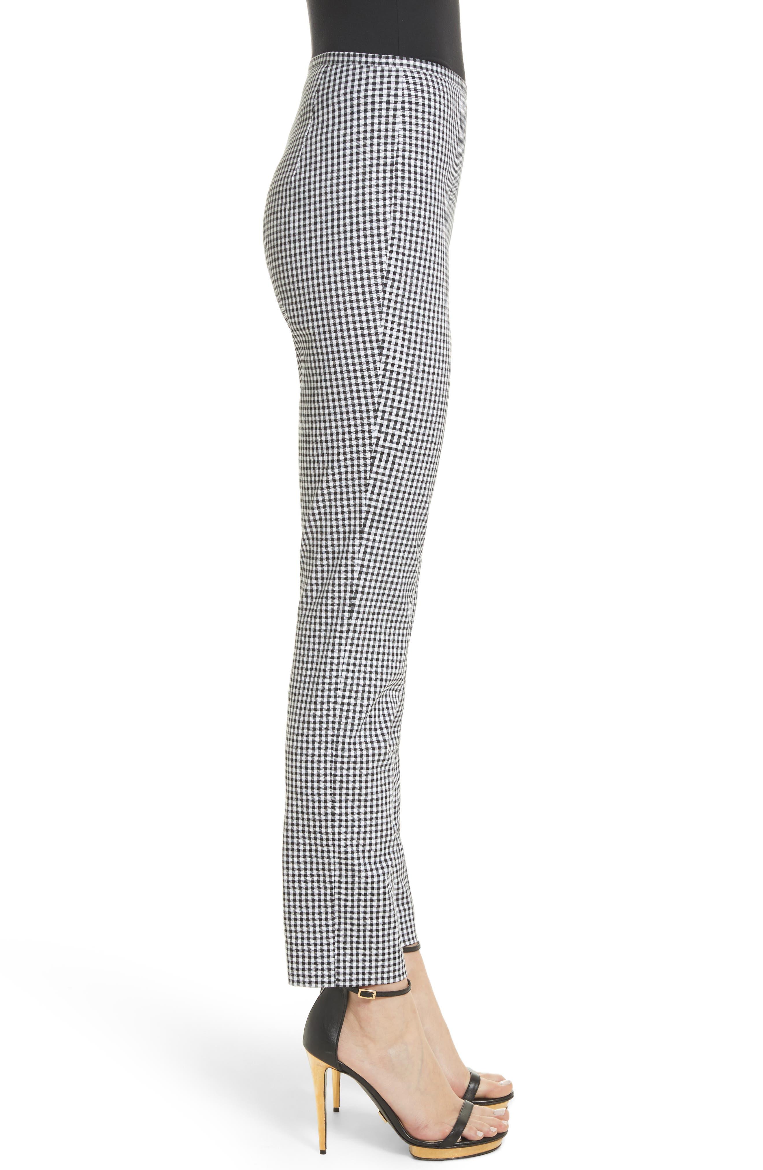 Gingham Stretch Cotton Pants,                             Alternate thumbnail 4, color,                             Black / White