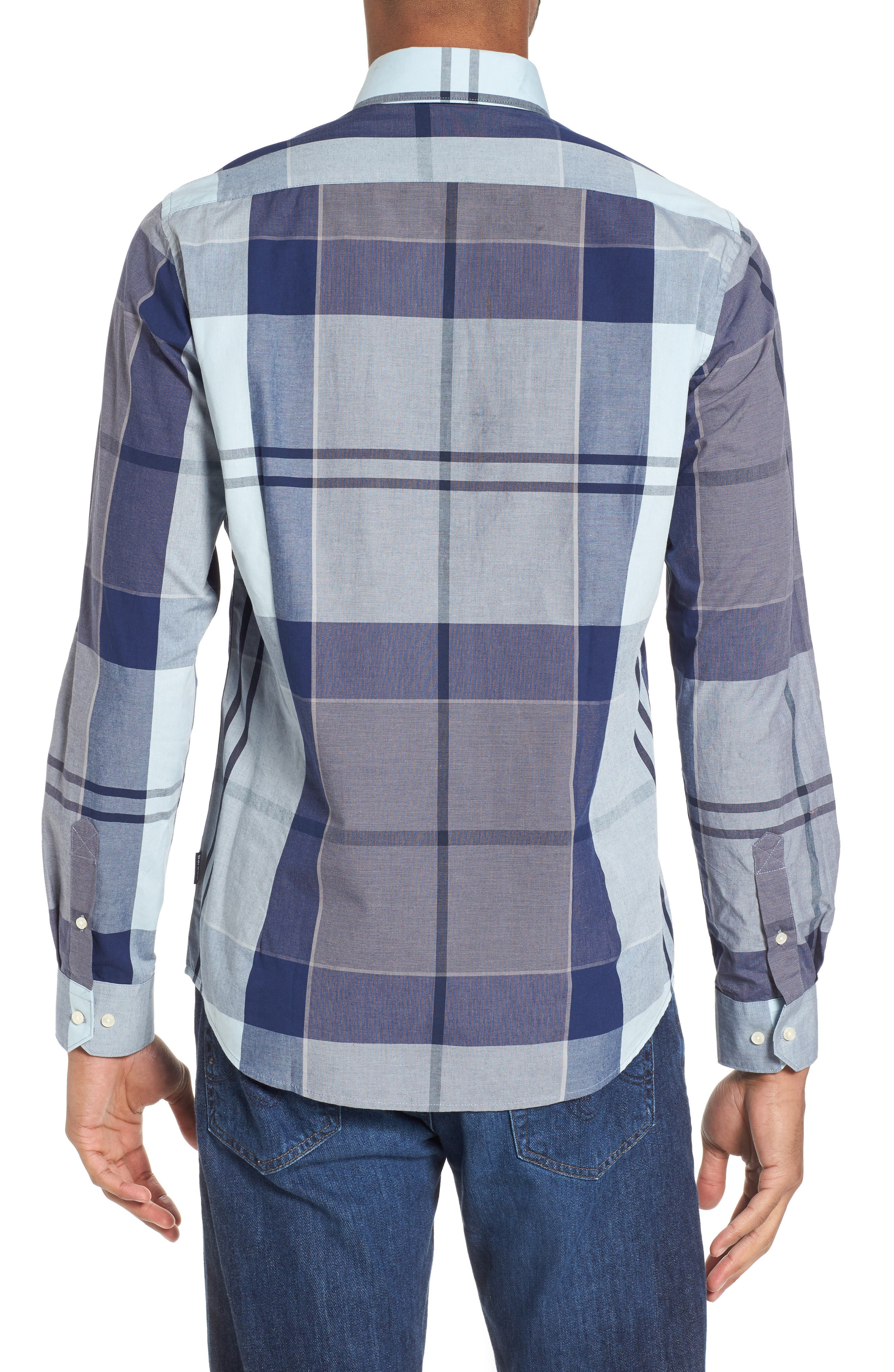 Arndale Tailored Fit Plaid Sport Shirt,                             Alternate thumbnail 2, color,                             Chambray