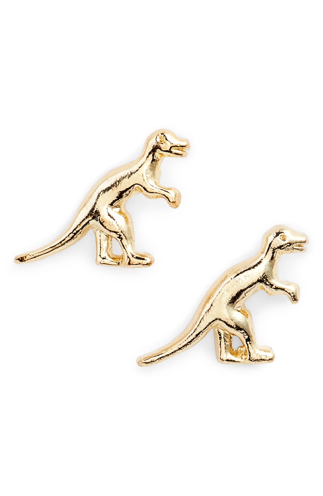 Dinosaur Stud Earrings,                             Alternate thumbnail 2, color,                             Gold