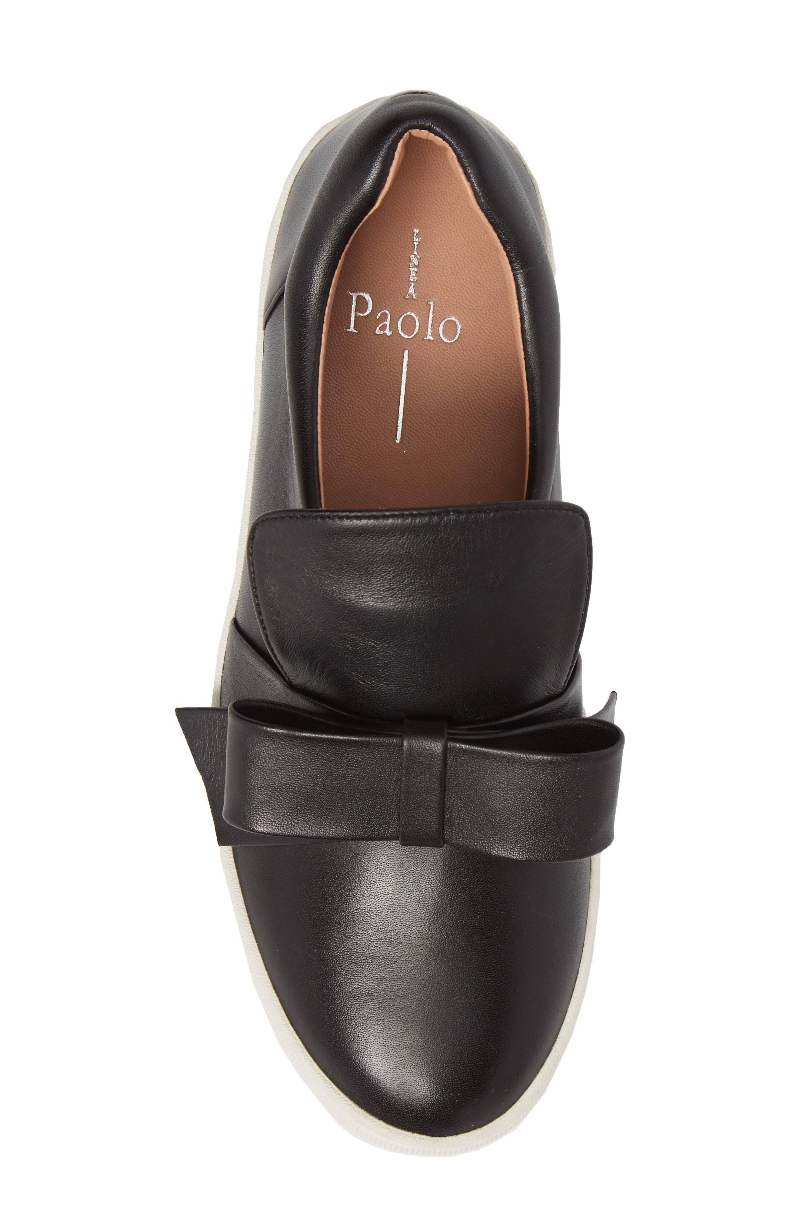 Vania Bow Platform Sneaker,                             Alternate thumbnail 5, color,                             Black Leather