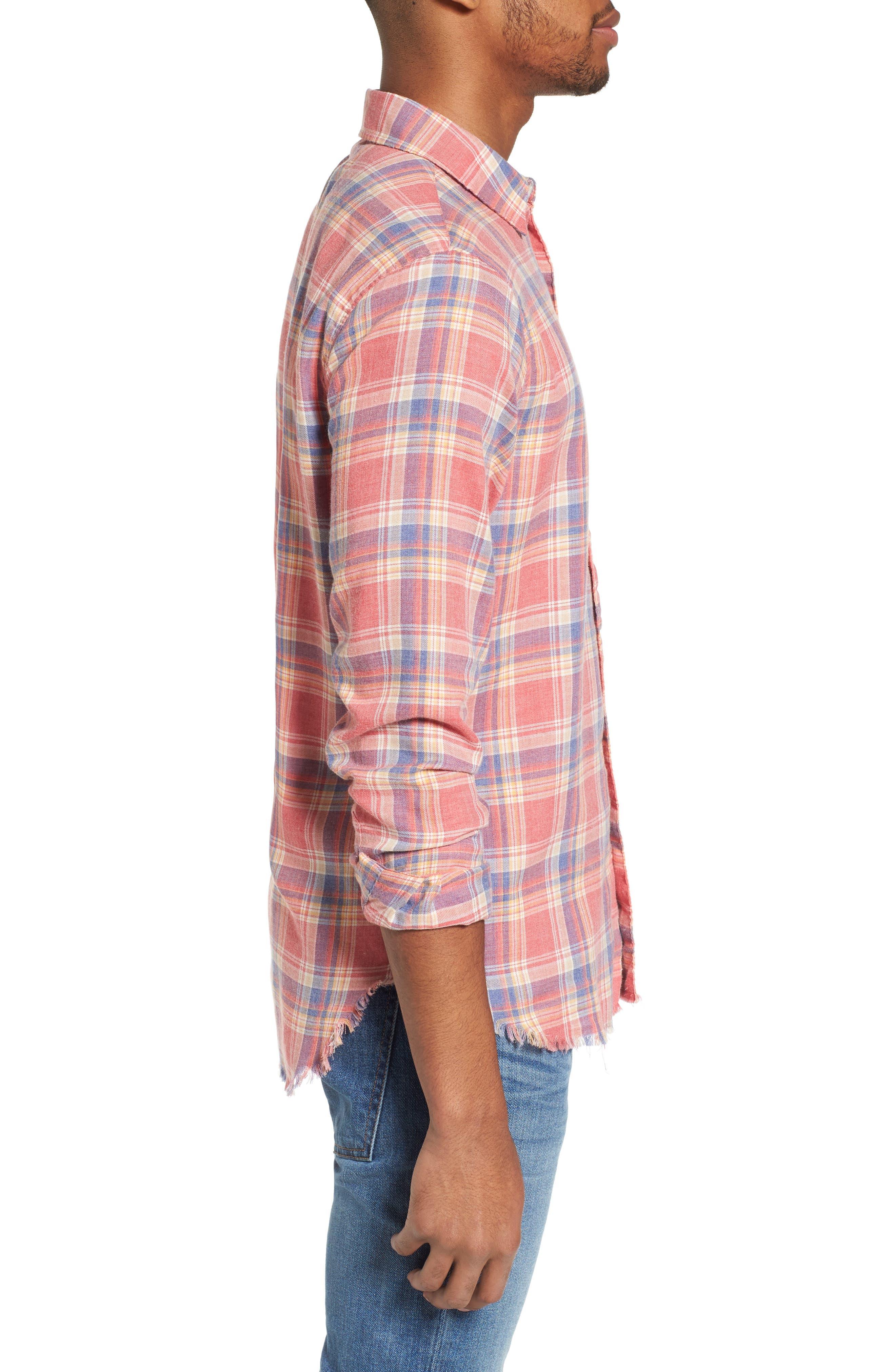 Fray Hem Plaid Flannel Shirt,                             Alternate thumbnail 3, color,                             Dark Pink Check