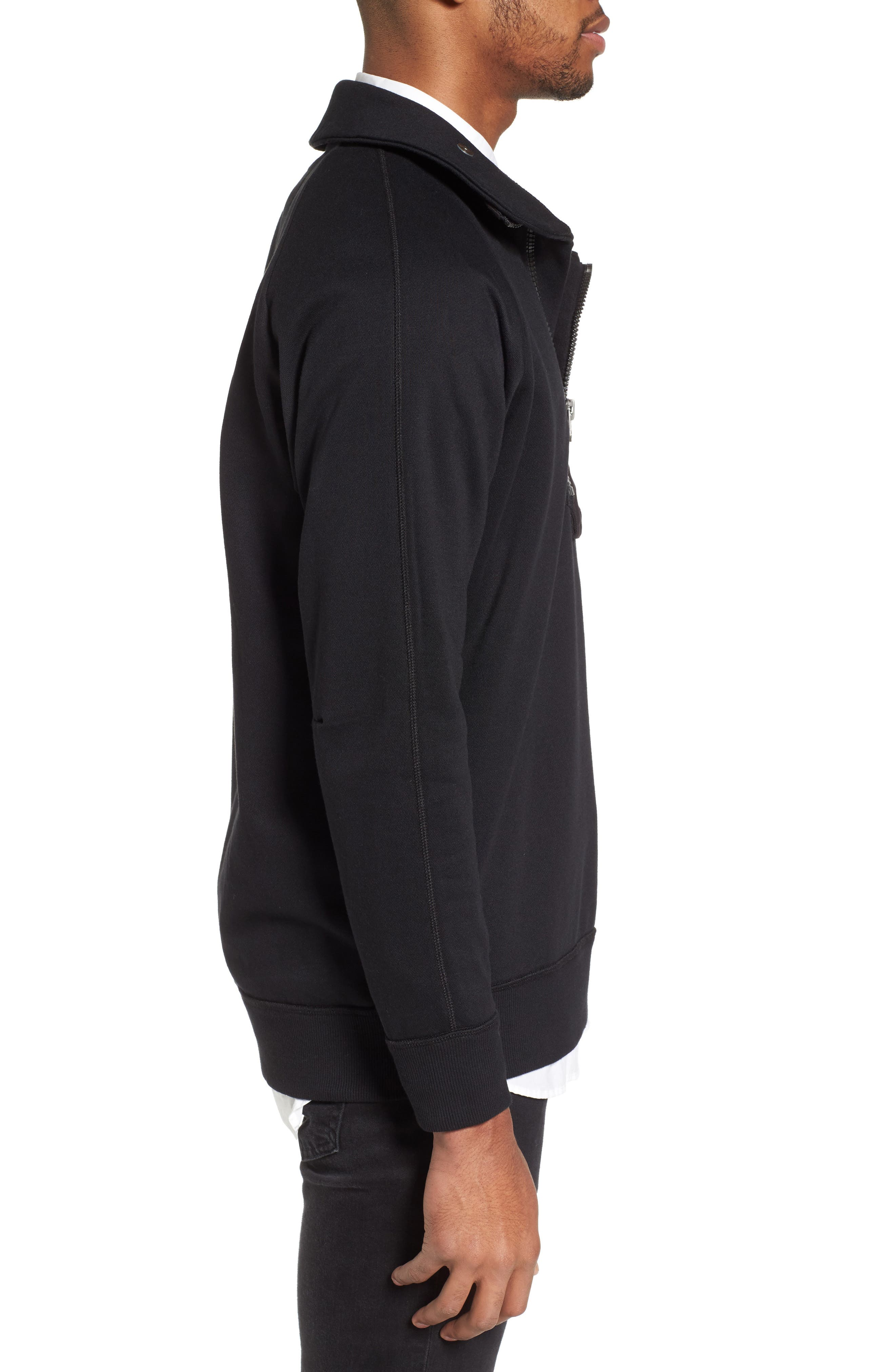 Empral Quarter Zip Pullover,                             Alternate thumbnail 3, color,                             Dark Black