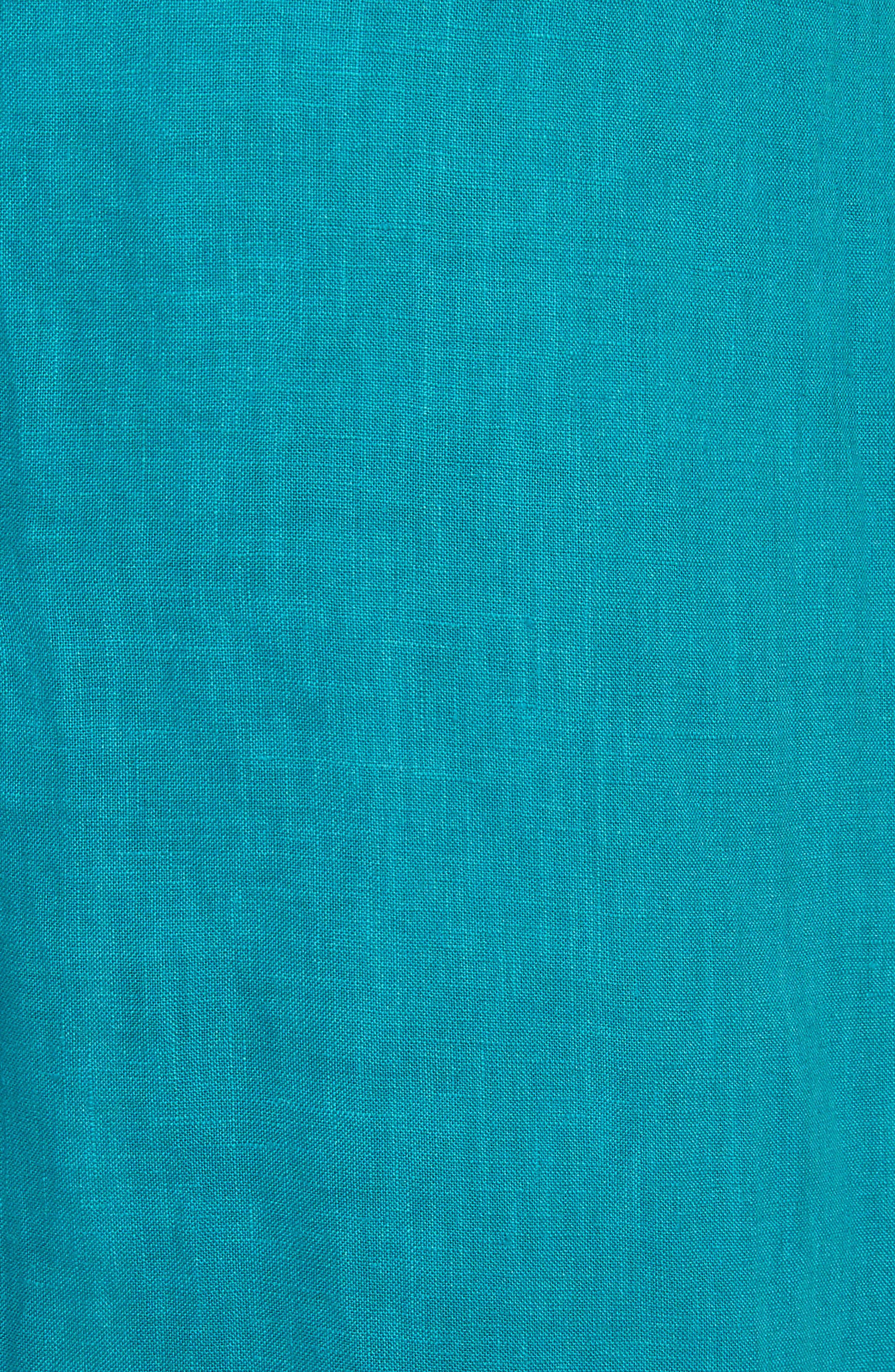 Delta Tie Waist Linen Skirt,                             Alternate thumbnail 5, color,                             Peacock