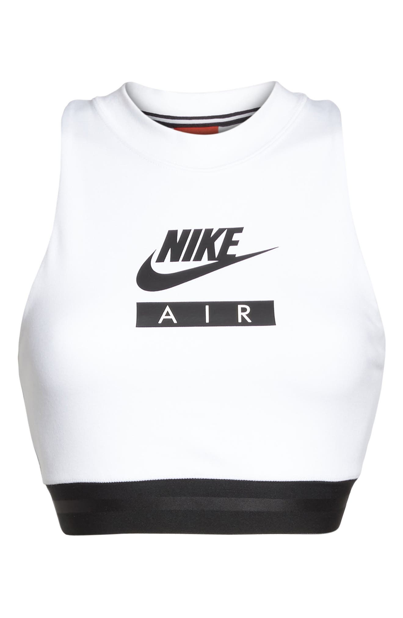 Sportswear Air Crop Top,                             Alternate thumbnail 6, color,                             White/ Black/ Black